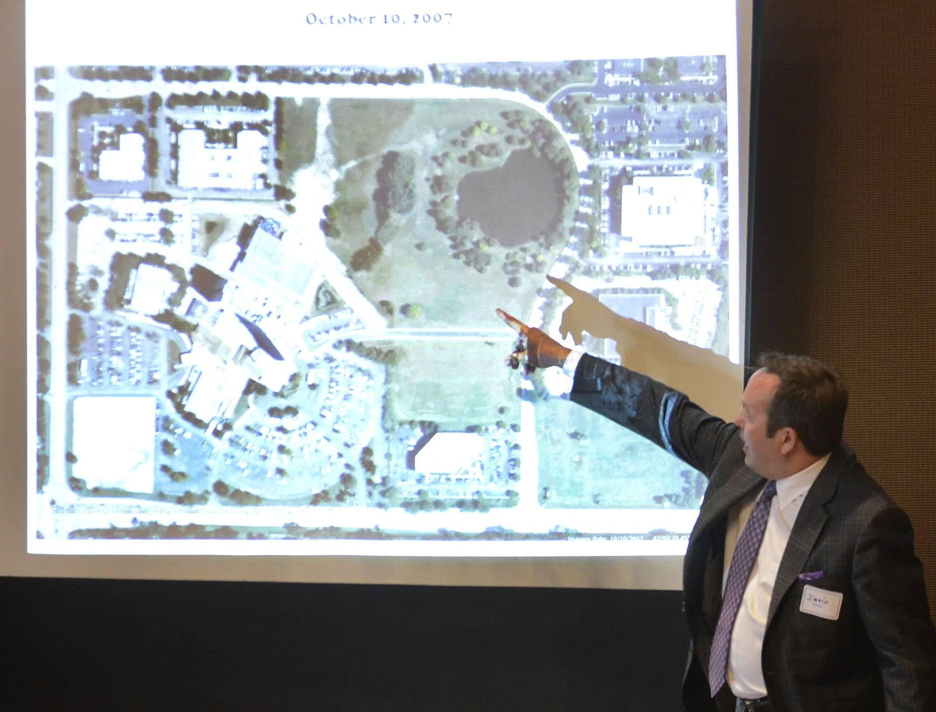 David Trandel, CEO of Stonestreet Partners, describes the layout of the Arlington Downs project.