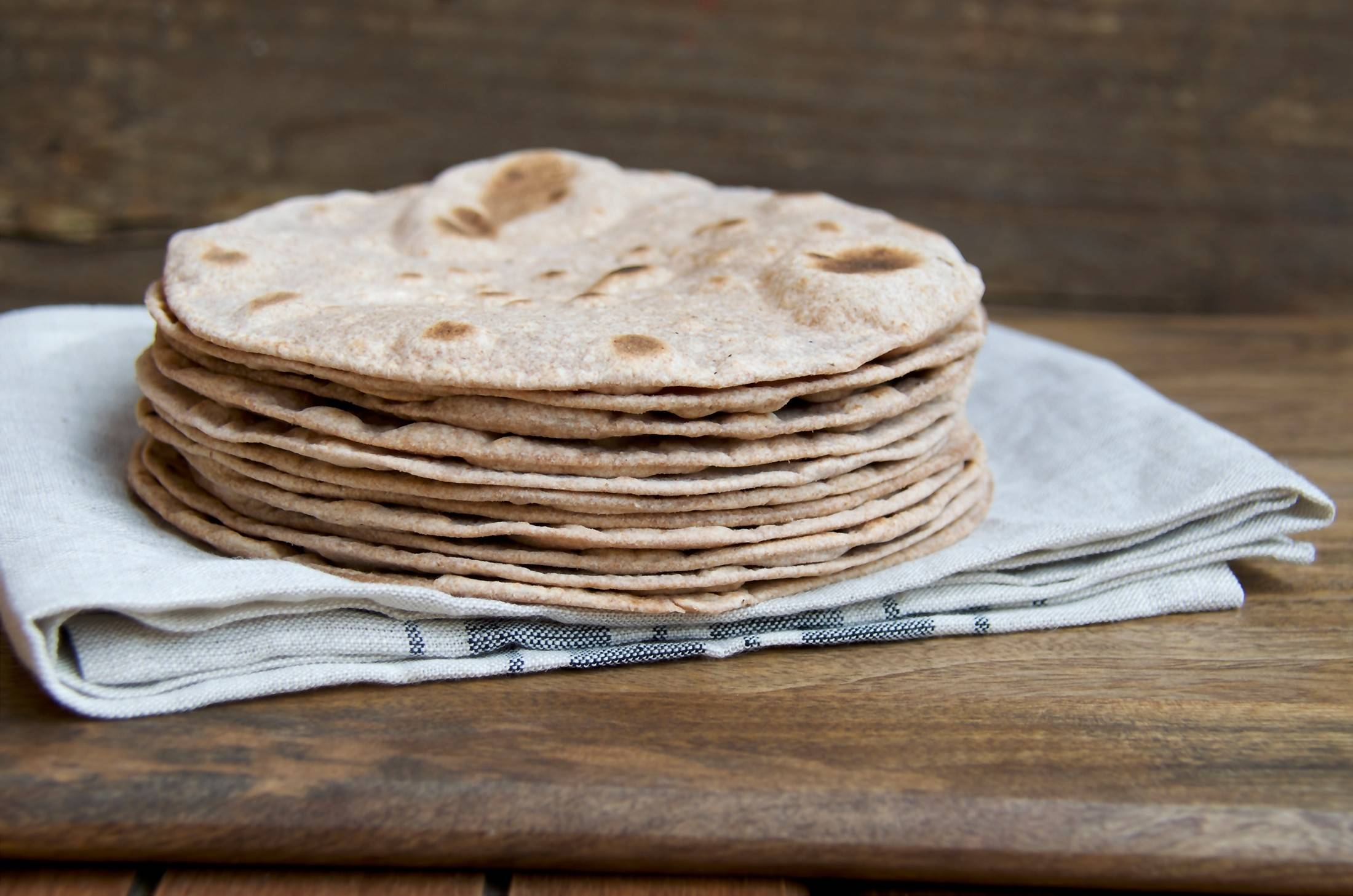 Whole wheat rotis can be made at home without any special kitchen tools.