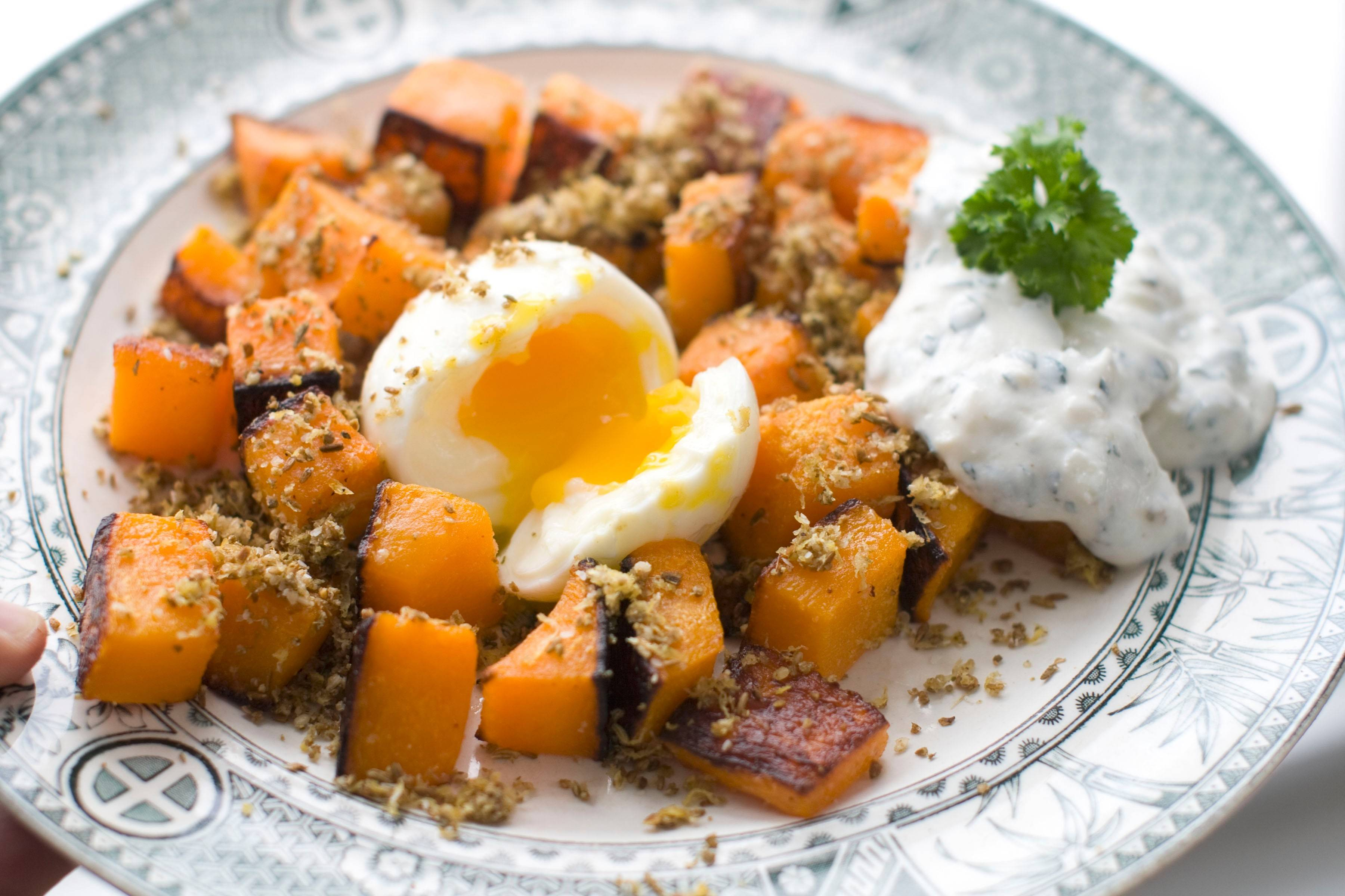 Don't discount hearty squash just because the temperature has ticked up a few degrees. Give roasted butternut a lighter touch with a soft-cooked egg.