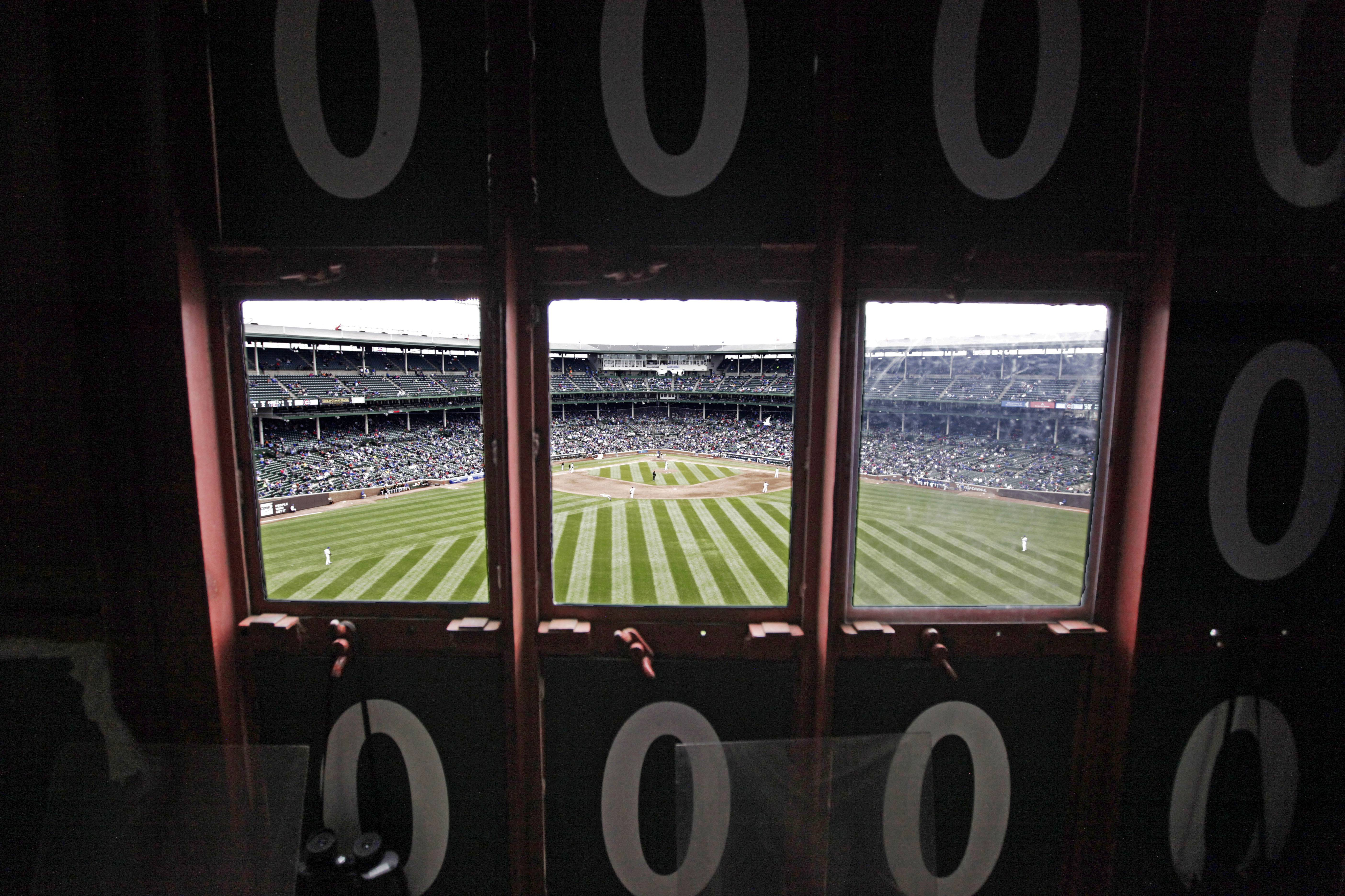 A view of the field from inside Wrigley Field's iconic scoreboard.