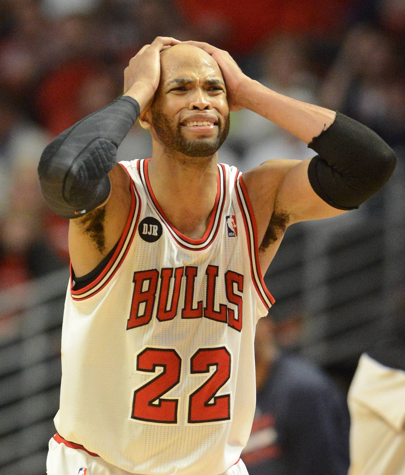 Chicago Bulls forward Taj Gibson reacts as things start going the Wizards' way during last night's game at the United Center in Chicago.