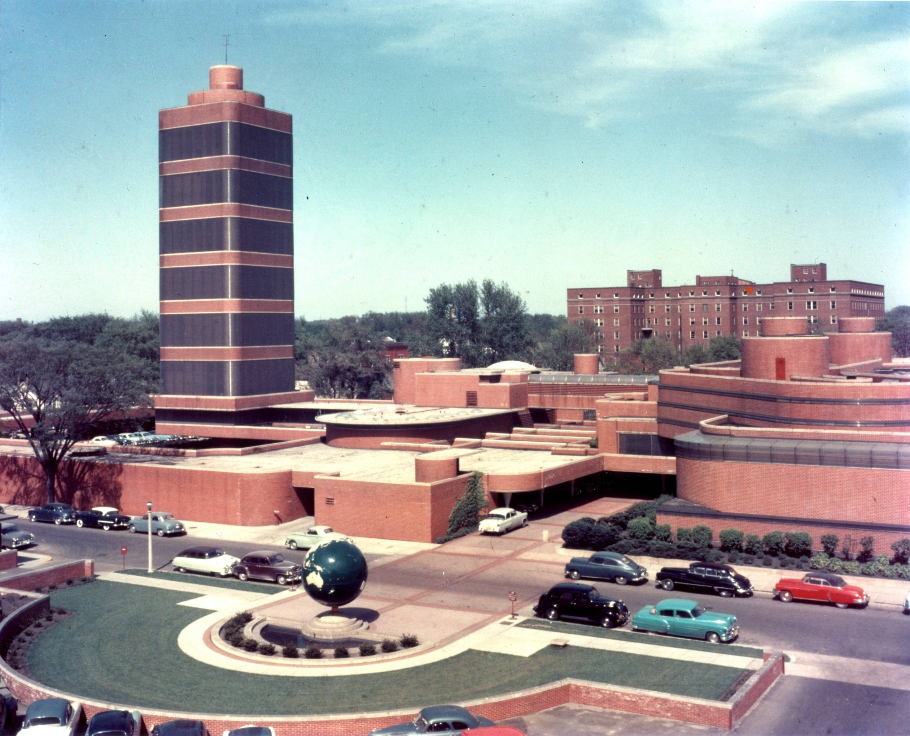 This photo from 1955 provides an aerial view of the SC Johnson Research Tower designed by Frank Lloyd Wright in Racine, Wis.