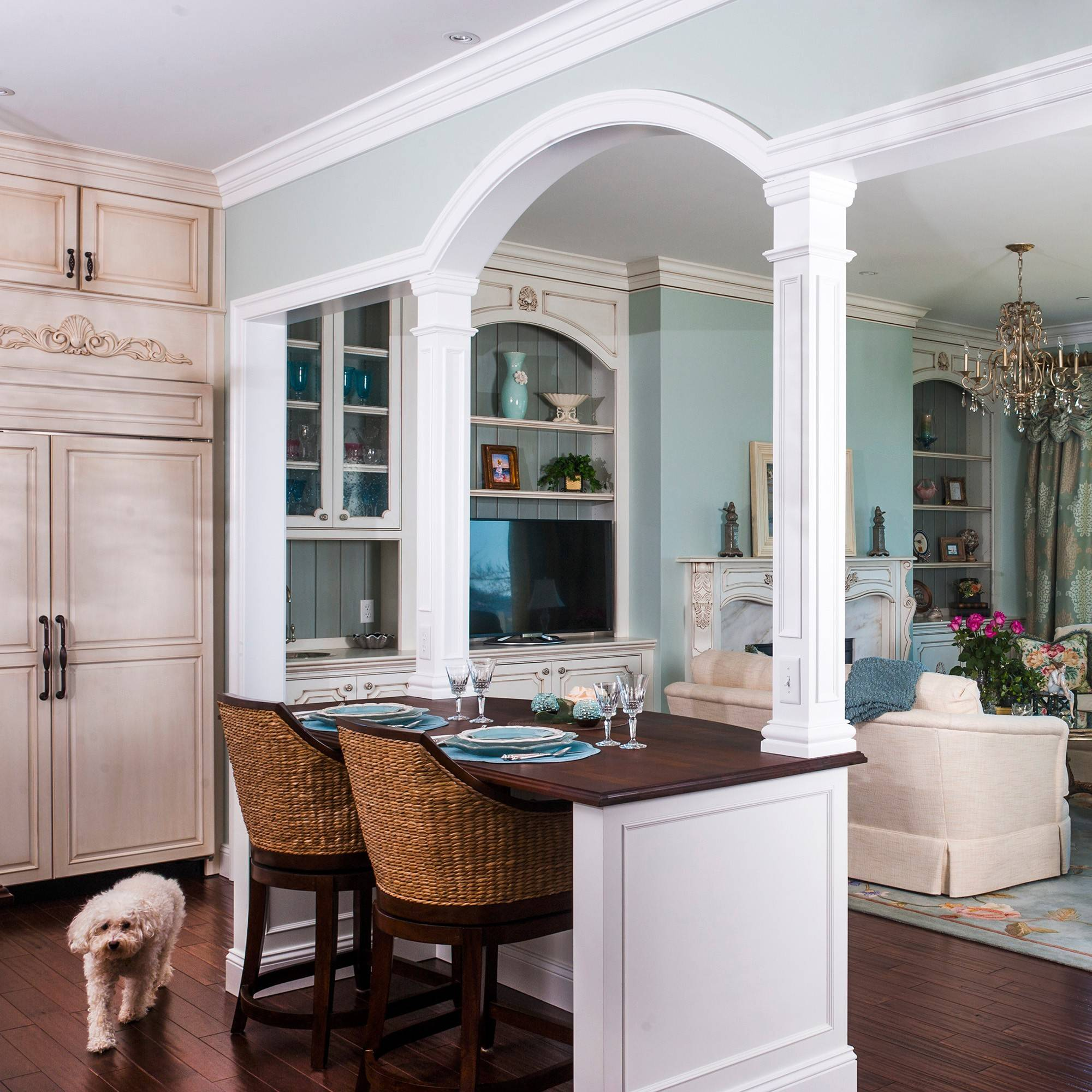 "Wide doorways and a kitchen counter that can be used as an eating area are some of the ""aging in place"" designs used in the McSweeny's new home on the Chesapeake Bay in Edgewater, Md."