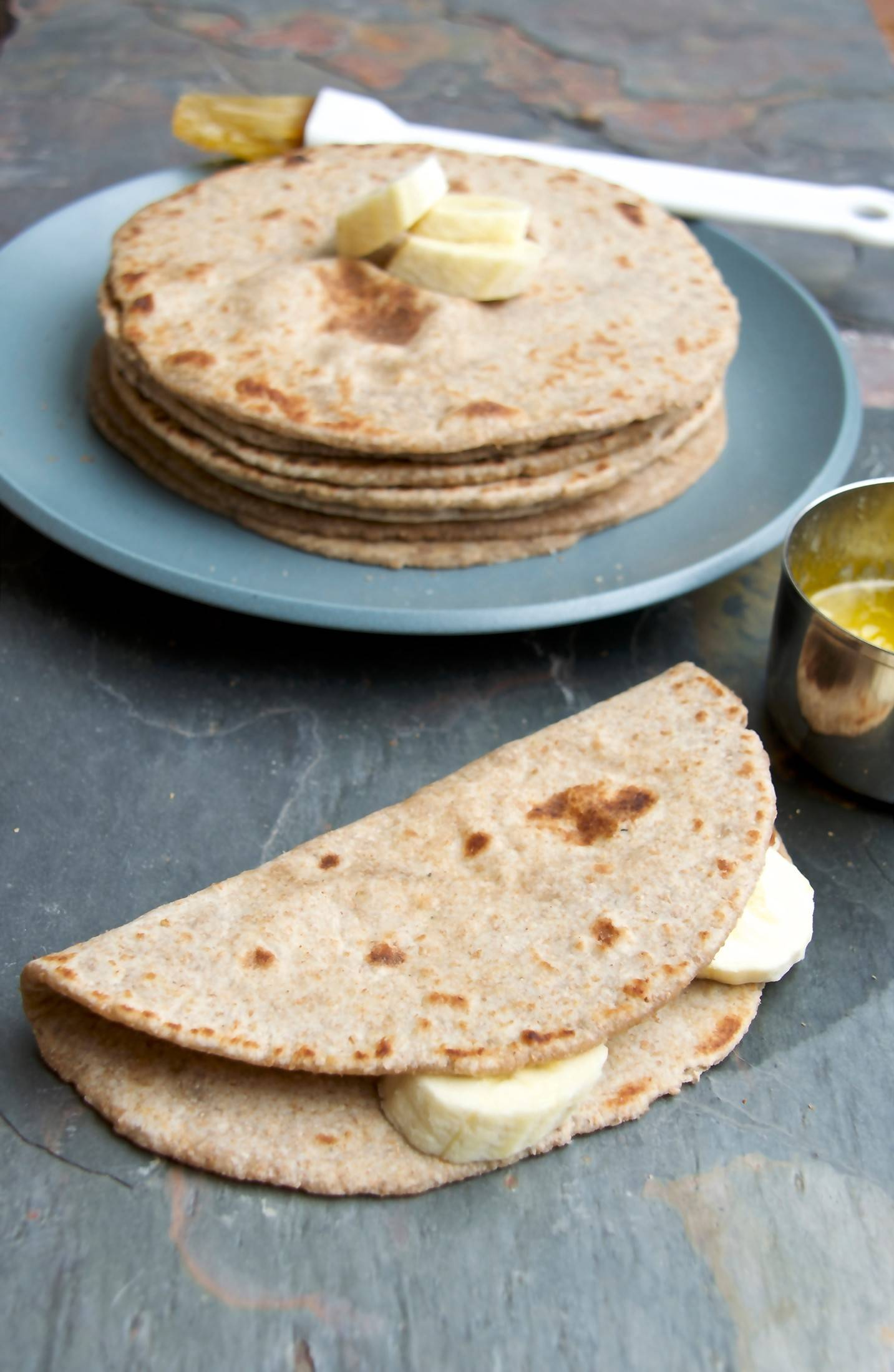 Whole-Wheat Banana Chapatis is a super-quick and tasty breakfast flatbread, sweetened with just a touch of raw sugar.