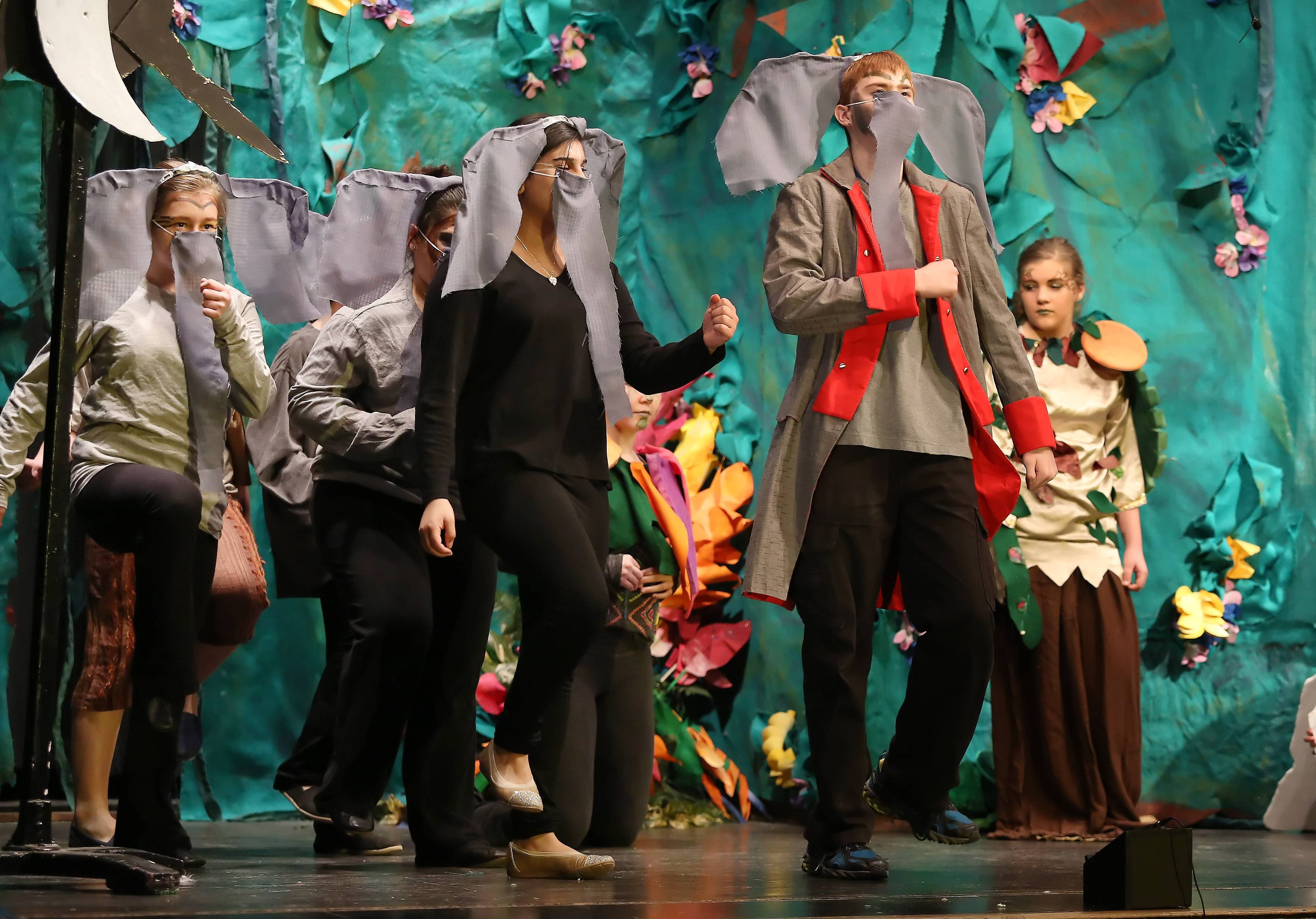 "Maksim Kadukov plays Colonel Hathi while leading his herd of elephants around the stage as Wauconda Middle School students performed ""Disney's Jungle Book Kids"" Wednesday at the school. The play will be presented for the public Thursday through Saturday at 7 p.m. in the gymnasium."