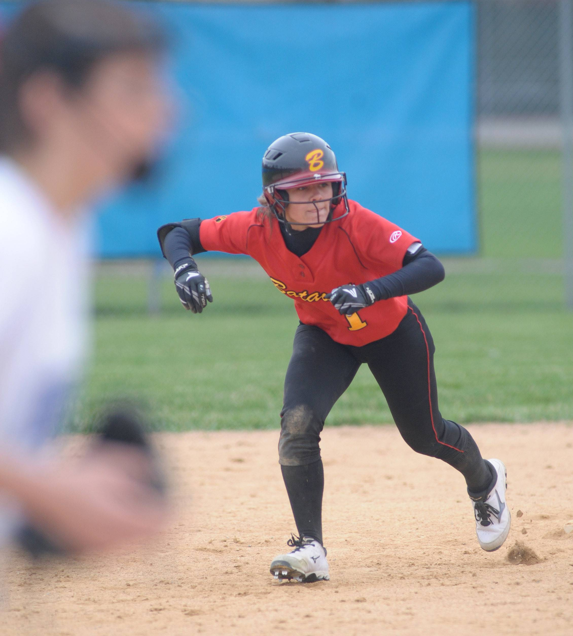 Batavia's Ryanne Marks leads off first plate in the third inning on Wednesday, April 23.