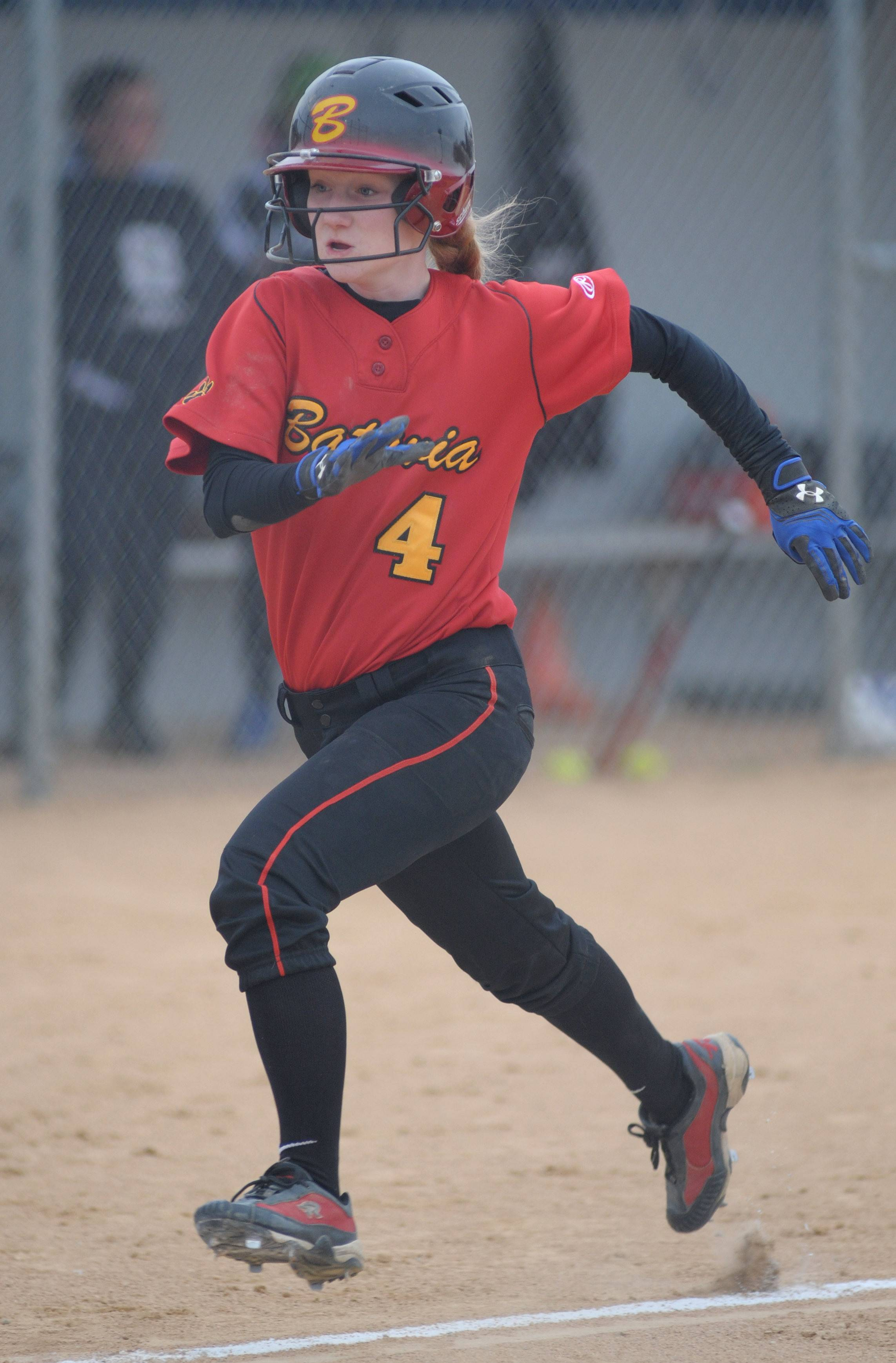 Batavia's Elyse Burns heads for home plate in the fifth inning on Wednesday, April 23.