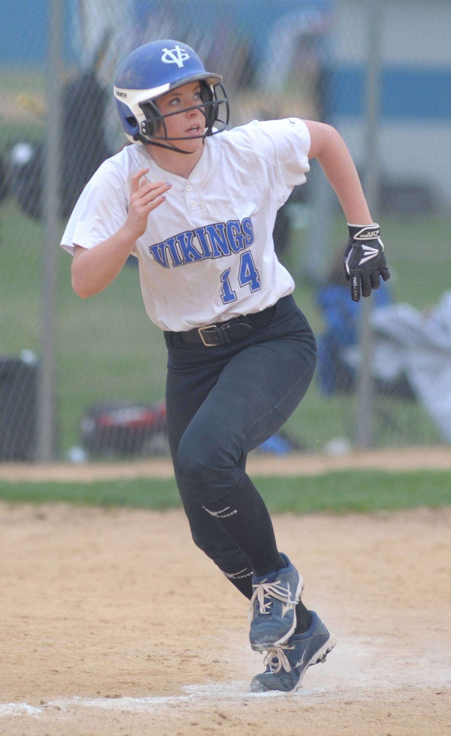 Geneva's Kaitlyn Plocinski heads for home plate in the fourth inning of game vs. Batavia on Wednesday, April 23.