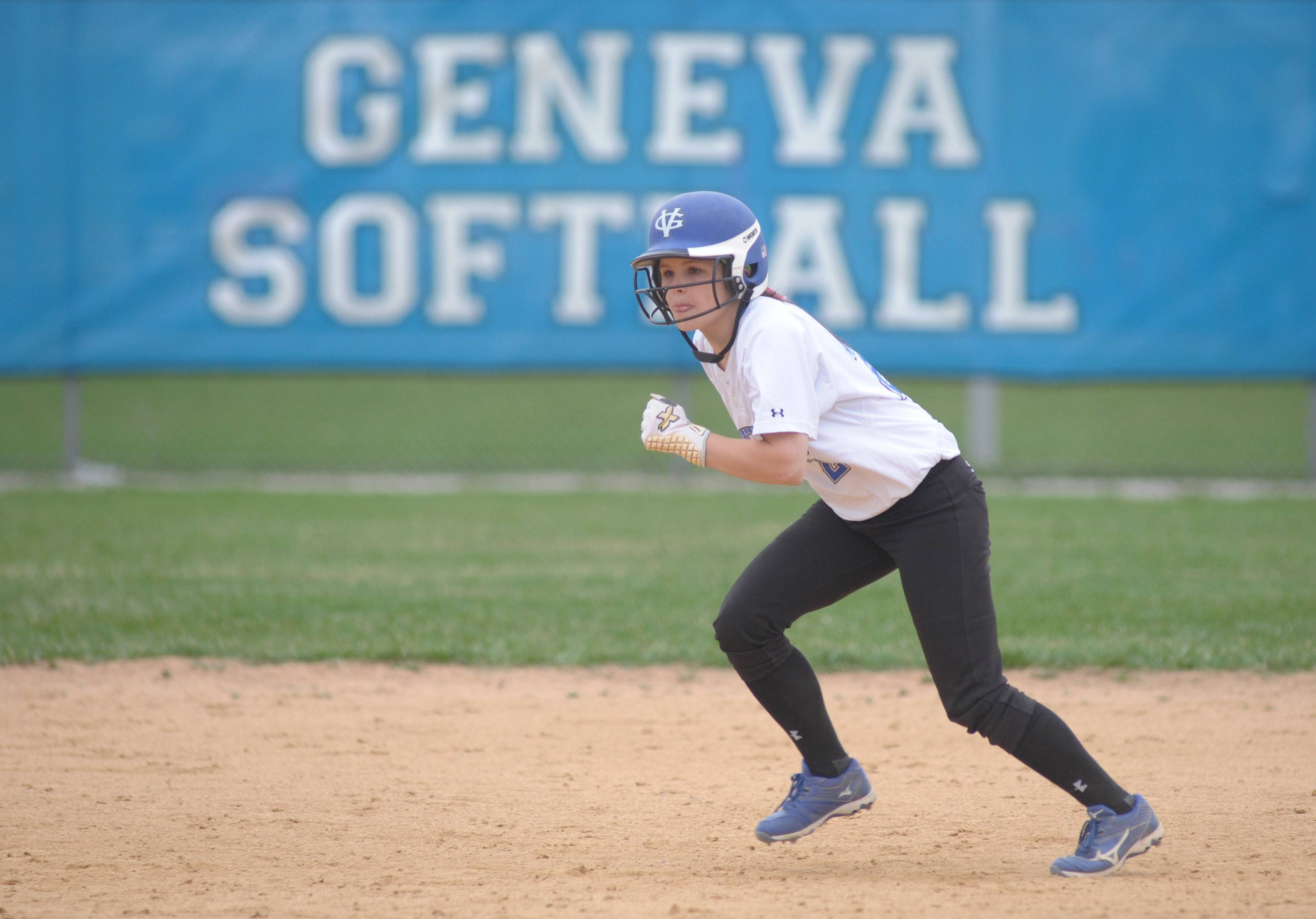 Geneva's McKenna Schimmel heads for third base in the fourth inning of game vs. Batavia on Wednesday, April 23.