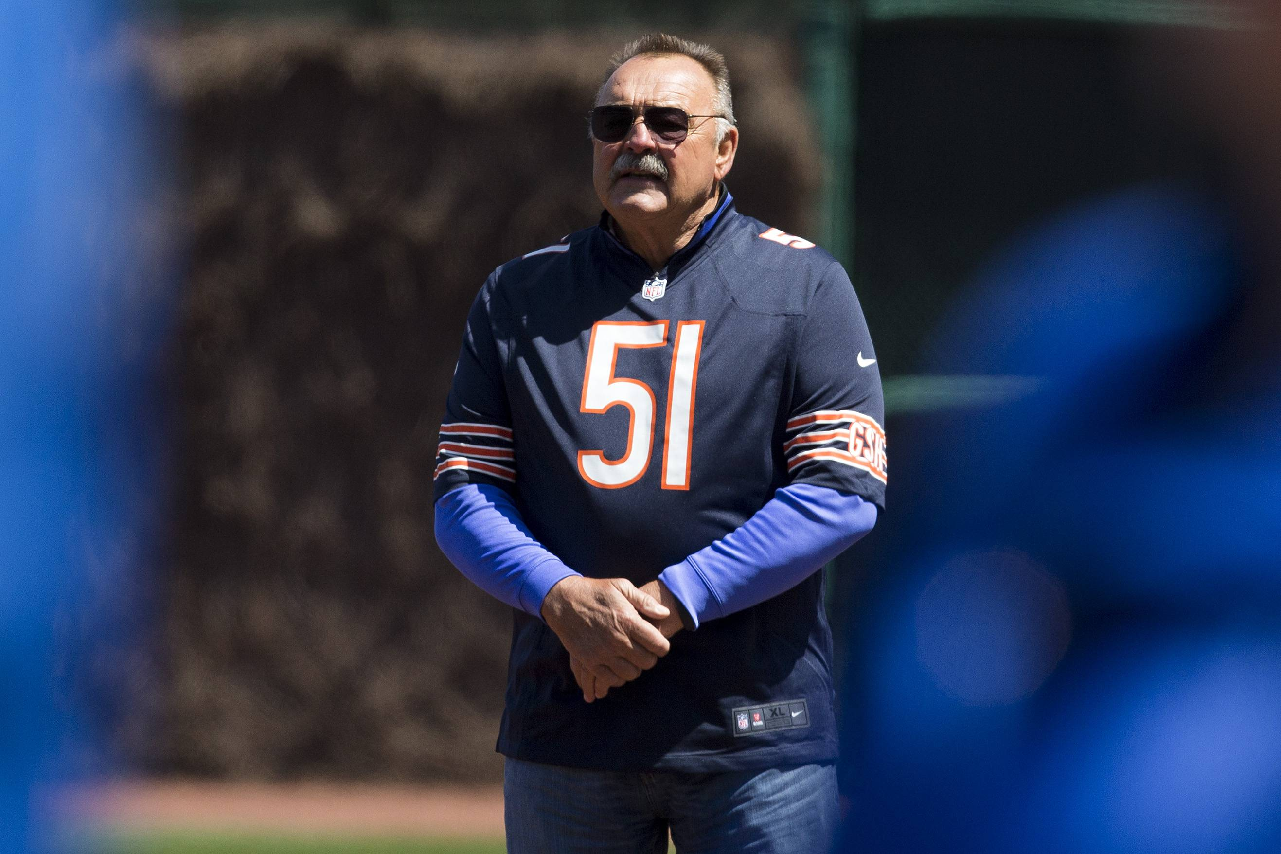 Hall of Fame linebacker Dick Butkus, who played for the Bears at Wrigley Field, is recognized Wednesday during pregame ceremonies marking the 100th birthday of Wrigley Field.