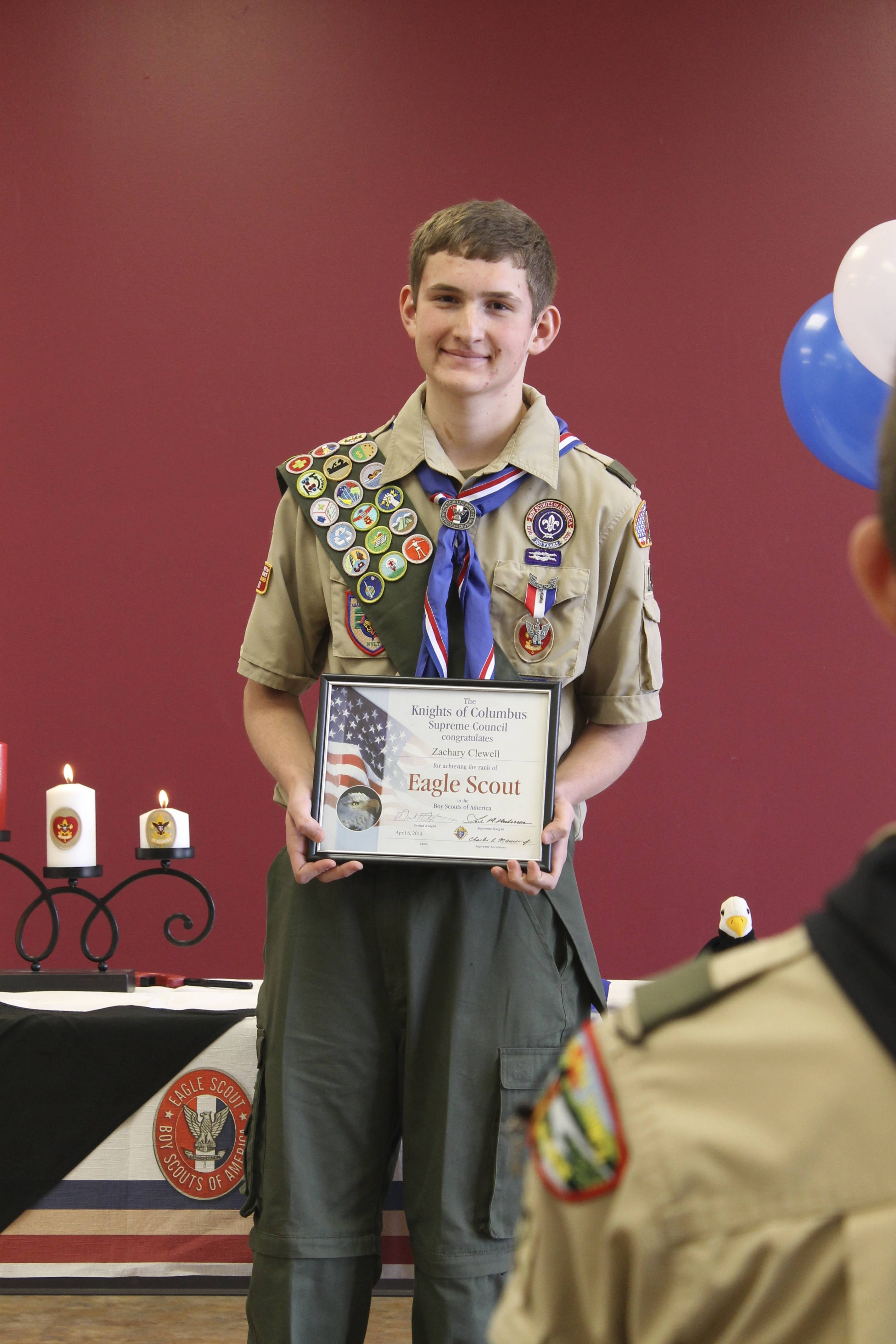 Zachary Clewell of Lake in the Hills receives his Eagle Scout award at a Court of Honor on April 6.
