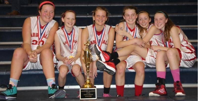 The St. Anne's eighth-grade girls basketball team, pictured, are Meghan, left, Jacqueline, Abigail, Madelyn, Kelsey and Maeve.