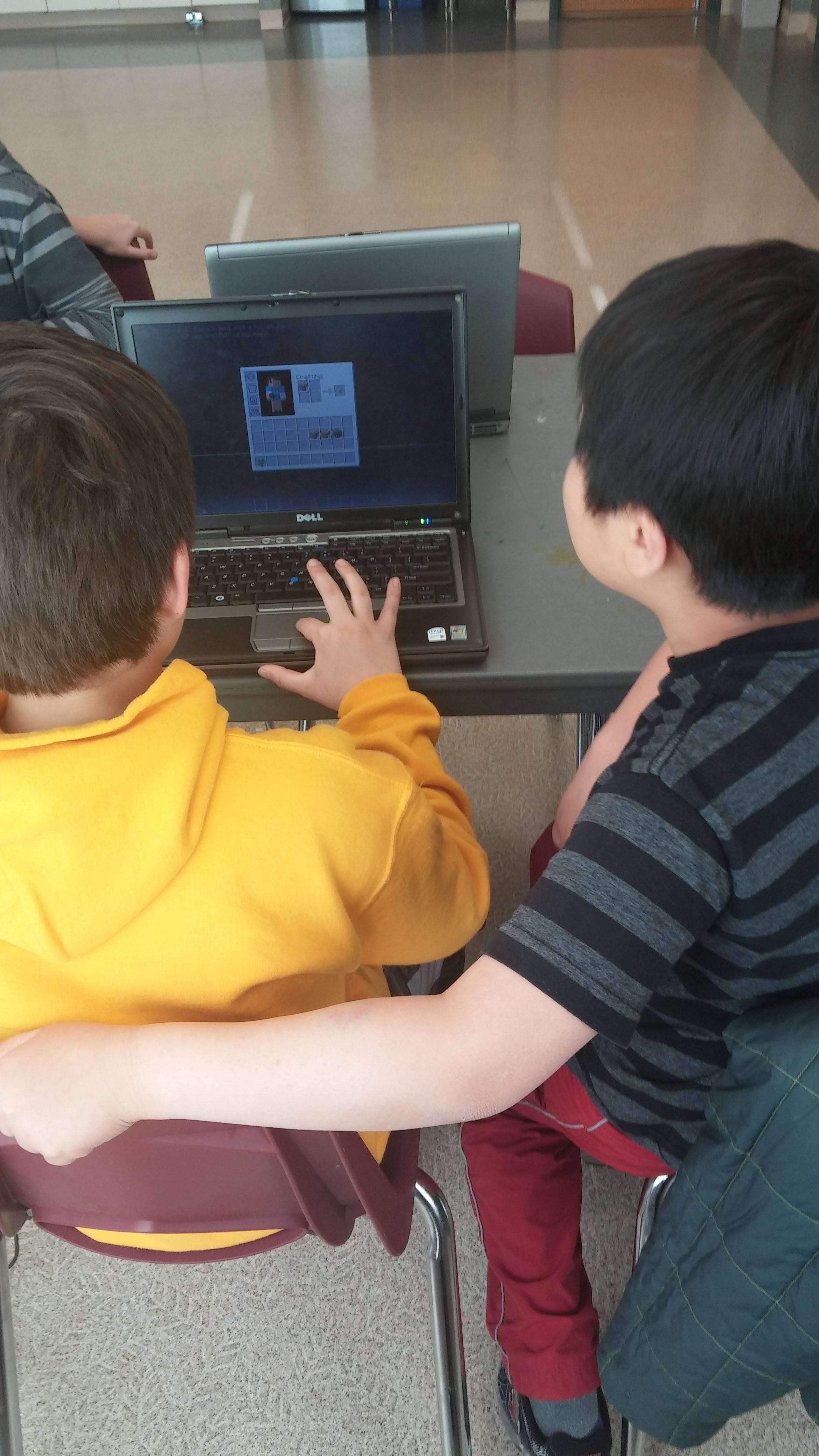 Students at the Glenview Park District learn some lessons using Minecraft.
