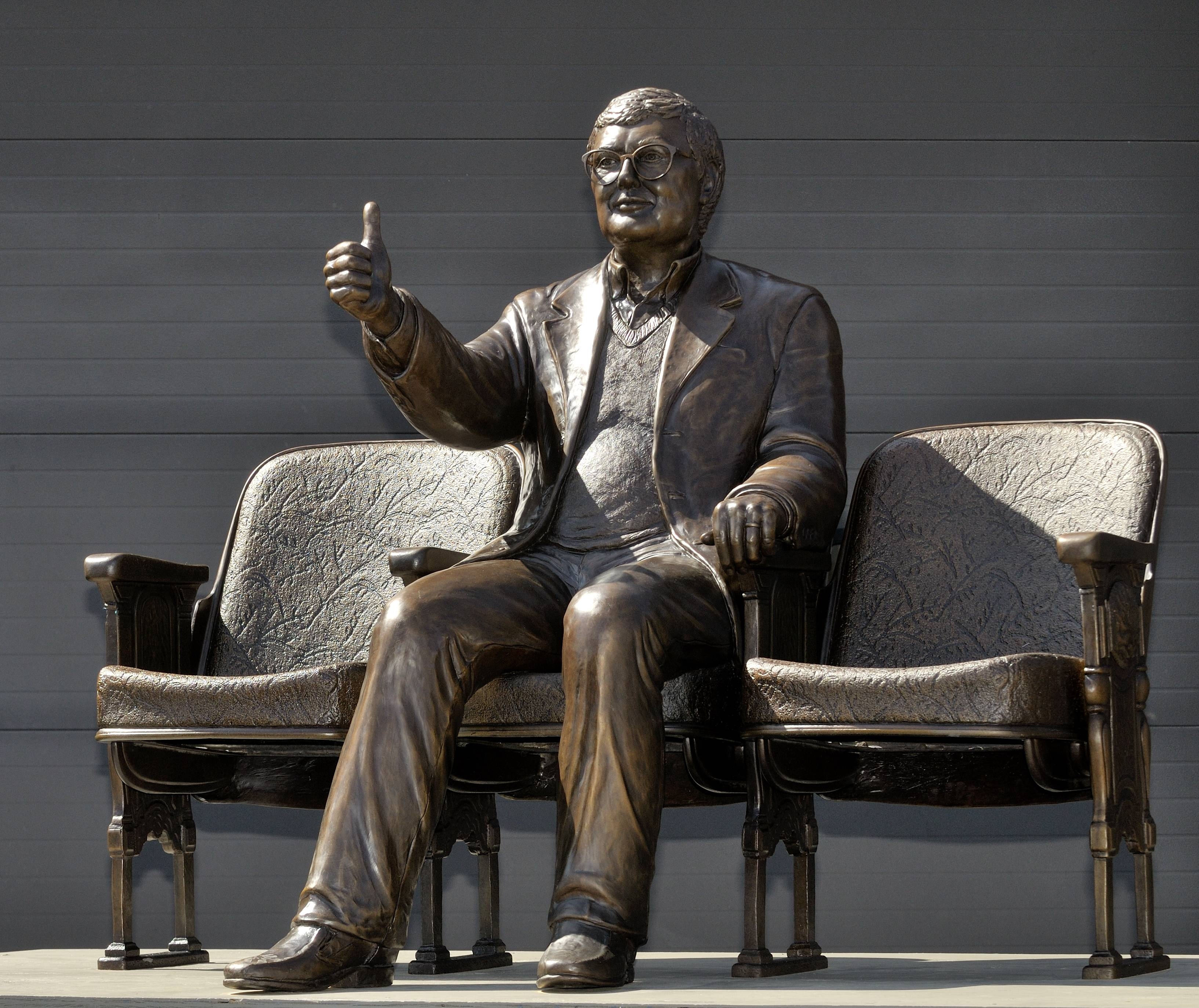 This bronze statue of Pulitzer Prize-winning film critic Roger Ebert will be unveiled Thursday outside the Virginia Theatre in Champaign where Ebert held his annual film festival. Ebert died in April 2013.