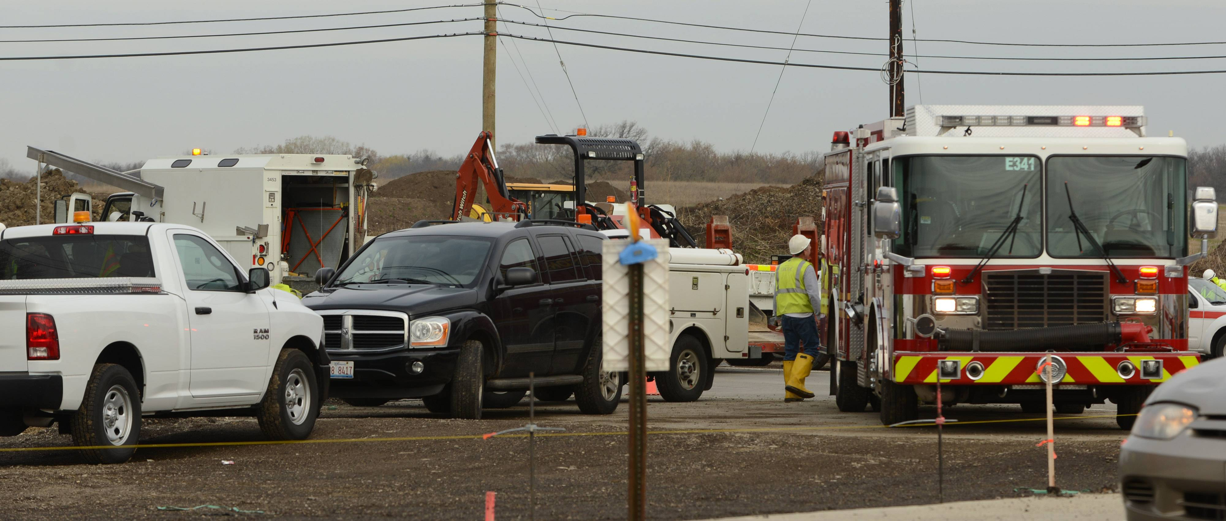 Emergency crews close Route 176 west of Fairfield Road near Wauconda due to a gas main leak in the construction zone.