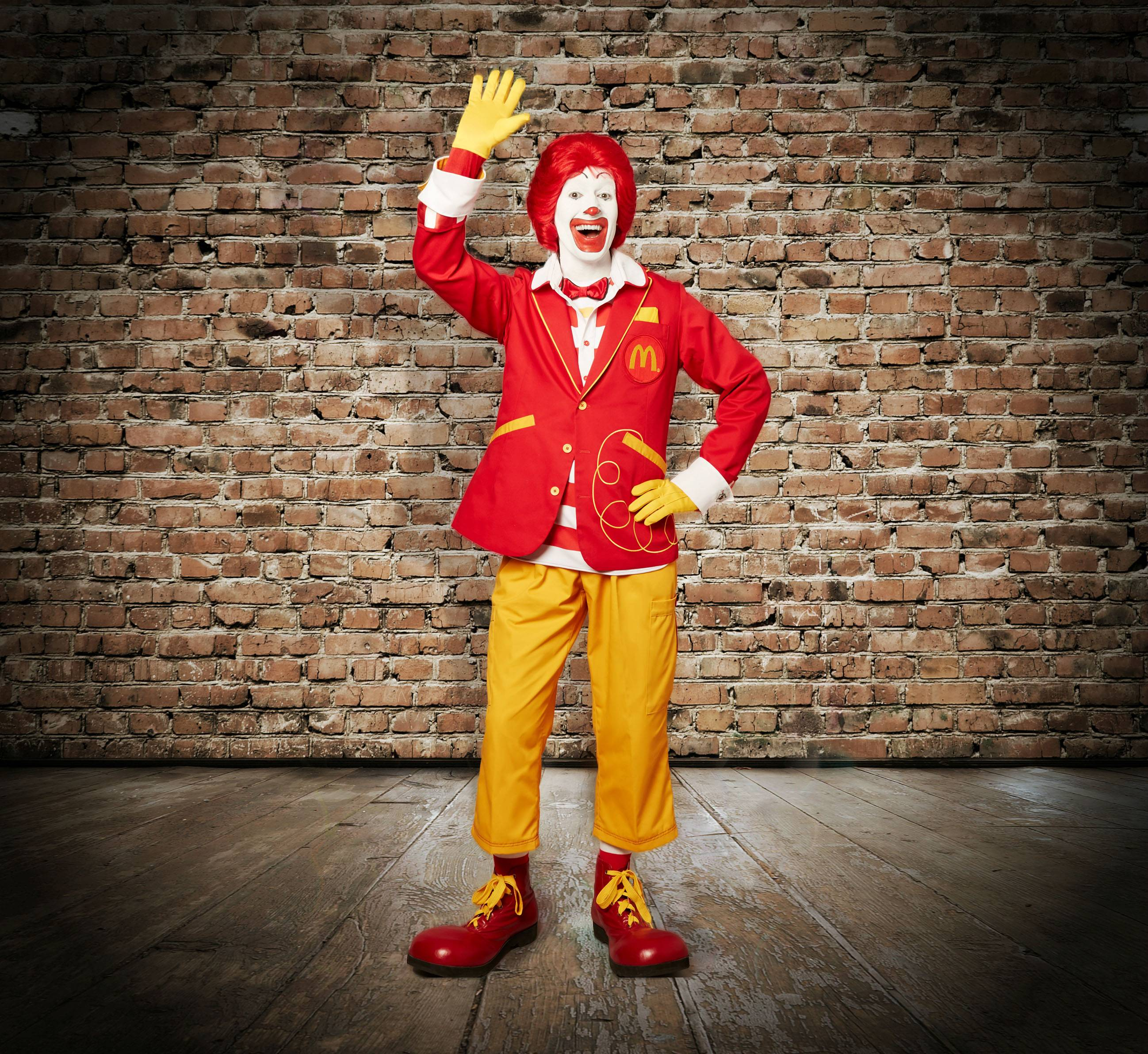 Ronald McDonald with updated clothing.