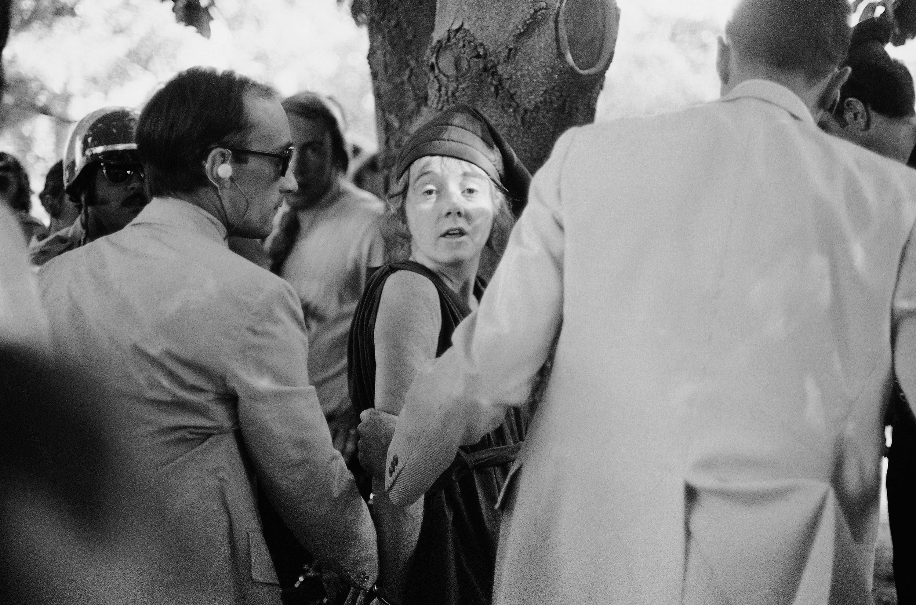 "U.S. Secret Service agents put handcuffs on Lynette ""Squeaky"" Fromme after she pointed a gun at President Gerald Ford, in Sacramento, Calif. Nearly 40 years after the former Manson family member pointed a gun at President Gerald Ford, the audiotape from her pretrial psychiatric examination has been made public."
