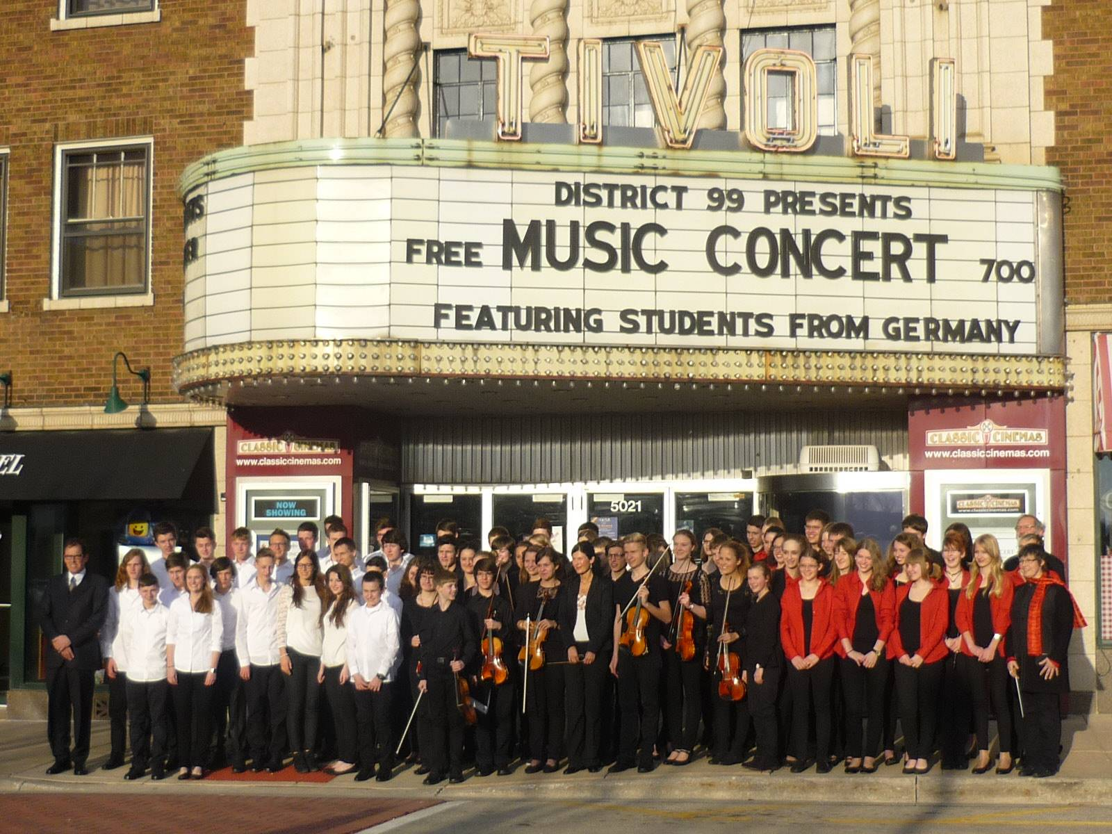 German Exchange Students in front of Tivoli Theatre after their performance.Linda Smith