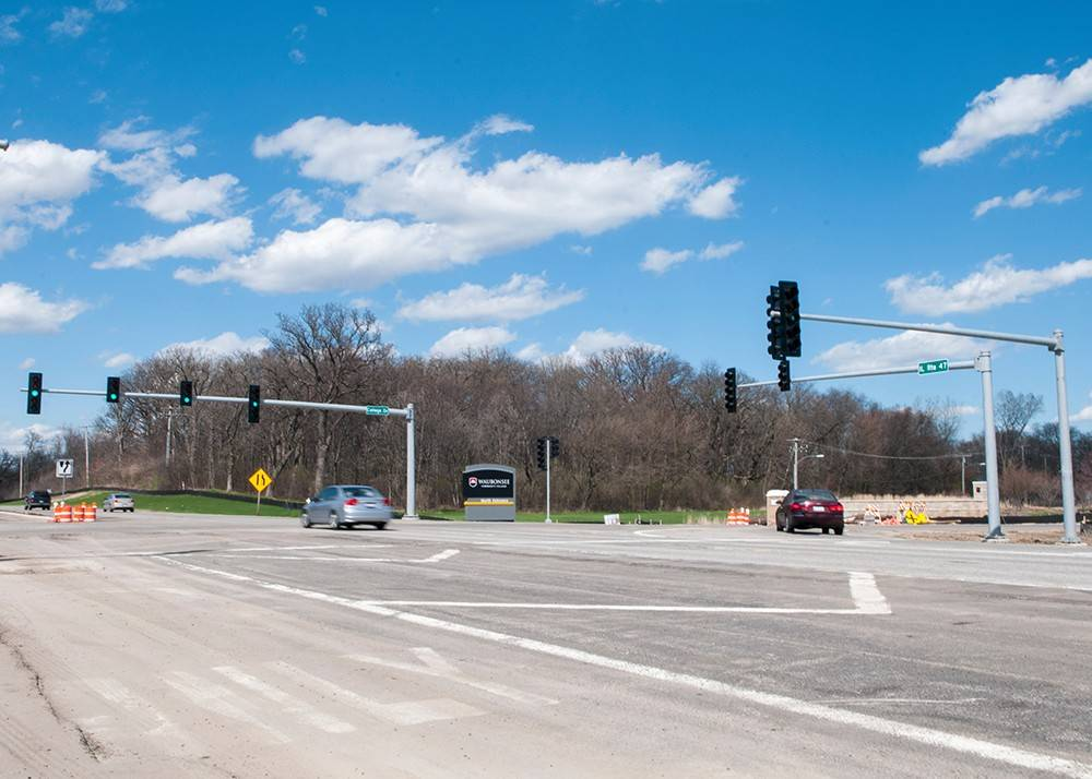 A new traffic signal was turned on Friday for the north entrance to Waubonsee Community College's Sugar Grove campus. College officials have been pushing the state to install the signal since at least 2006, and the effort gained momentum after the 2010 deaths of two students at the entrance.