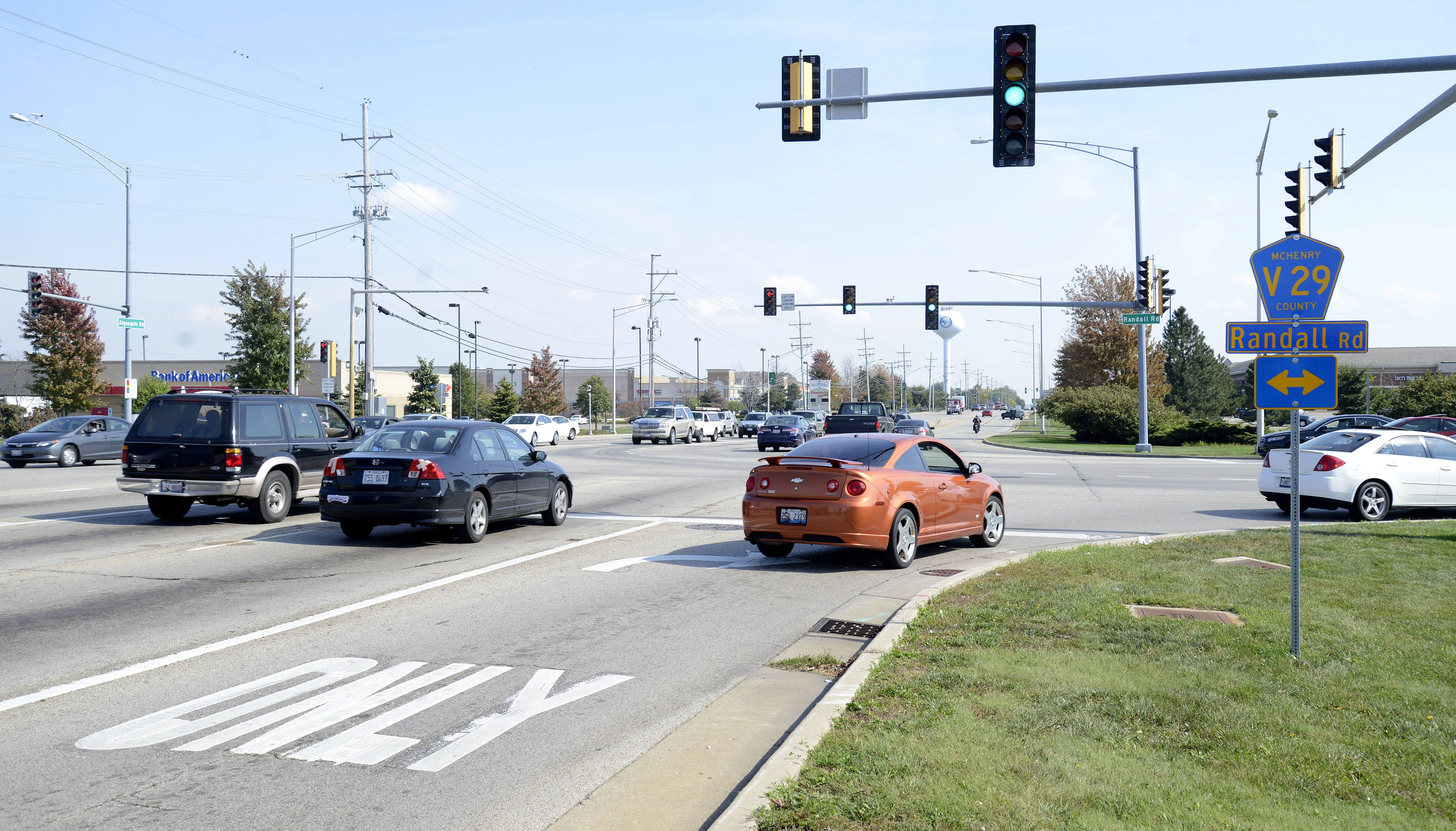 The intersection of Algonquin and Randall roads in Lake in the Hills is where McHenry County is proposing a continuous flow intersection that has some area businesses and property owners concerned.