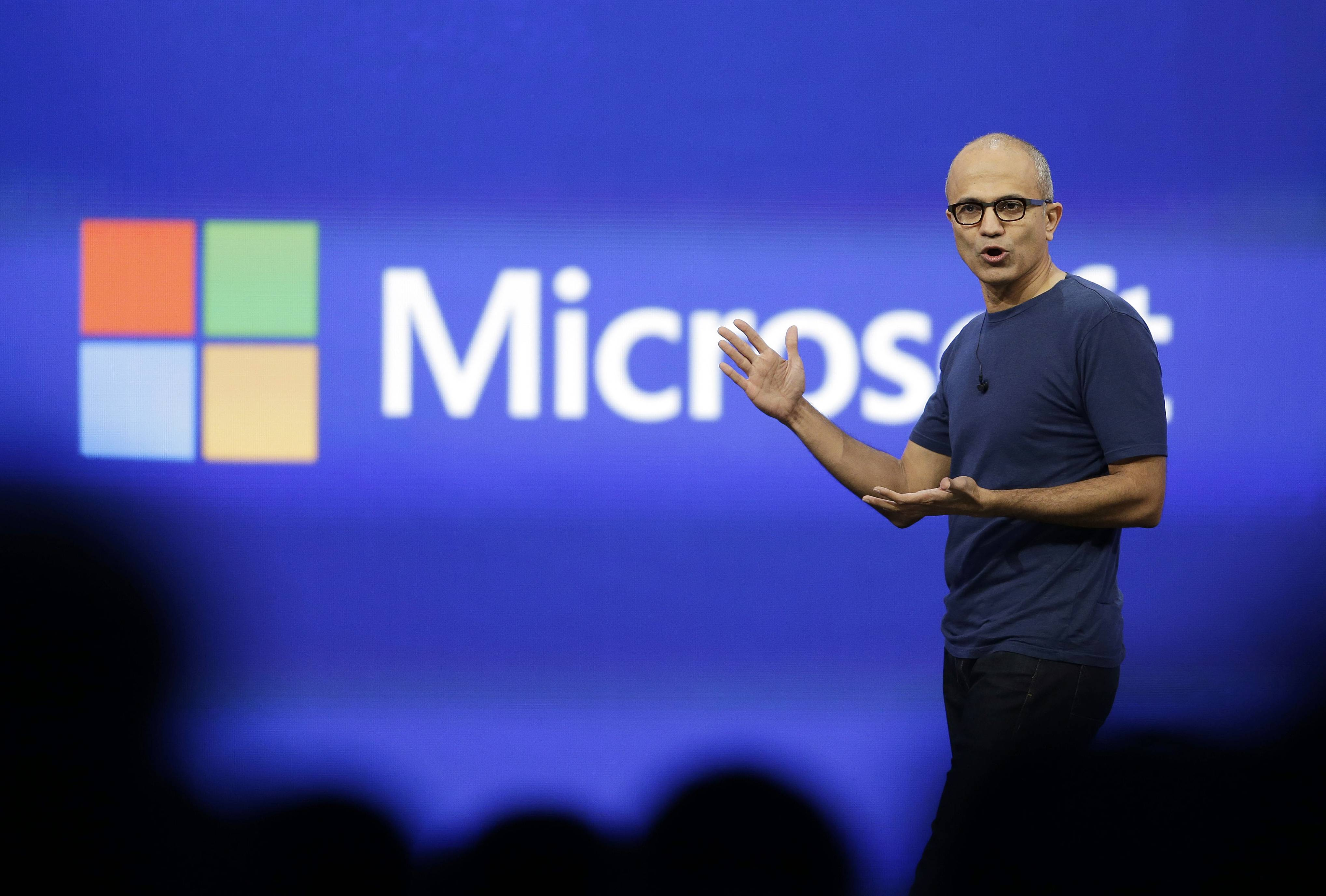 Microsoft CEO Satya Nadella gestures during the keynote address of the Build Conference in San Francisco.