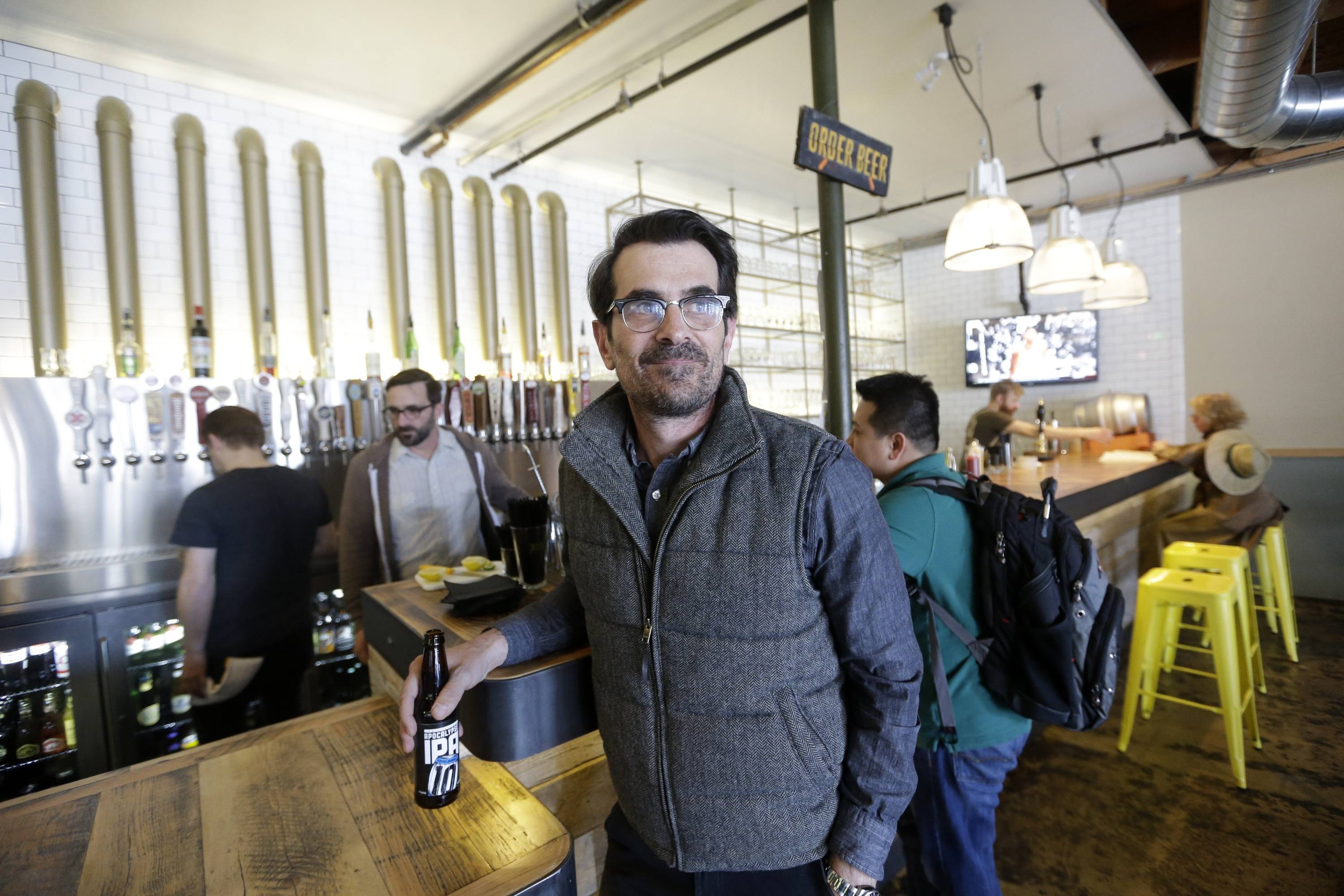 Actor Ty Burrell just opened Beer Bar, a beer garden-like eatery next door to Bar X, which he co-owns, that serves 150 beers paired up with an array of house-made bratwursts, local breads and Belgian fries.