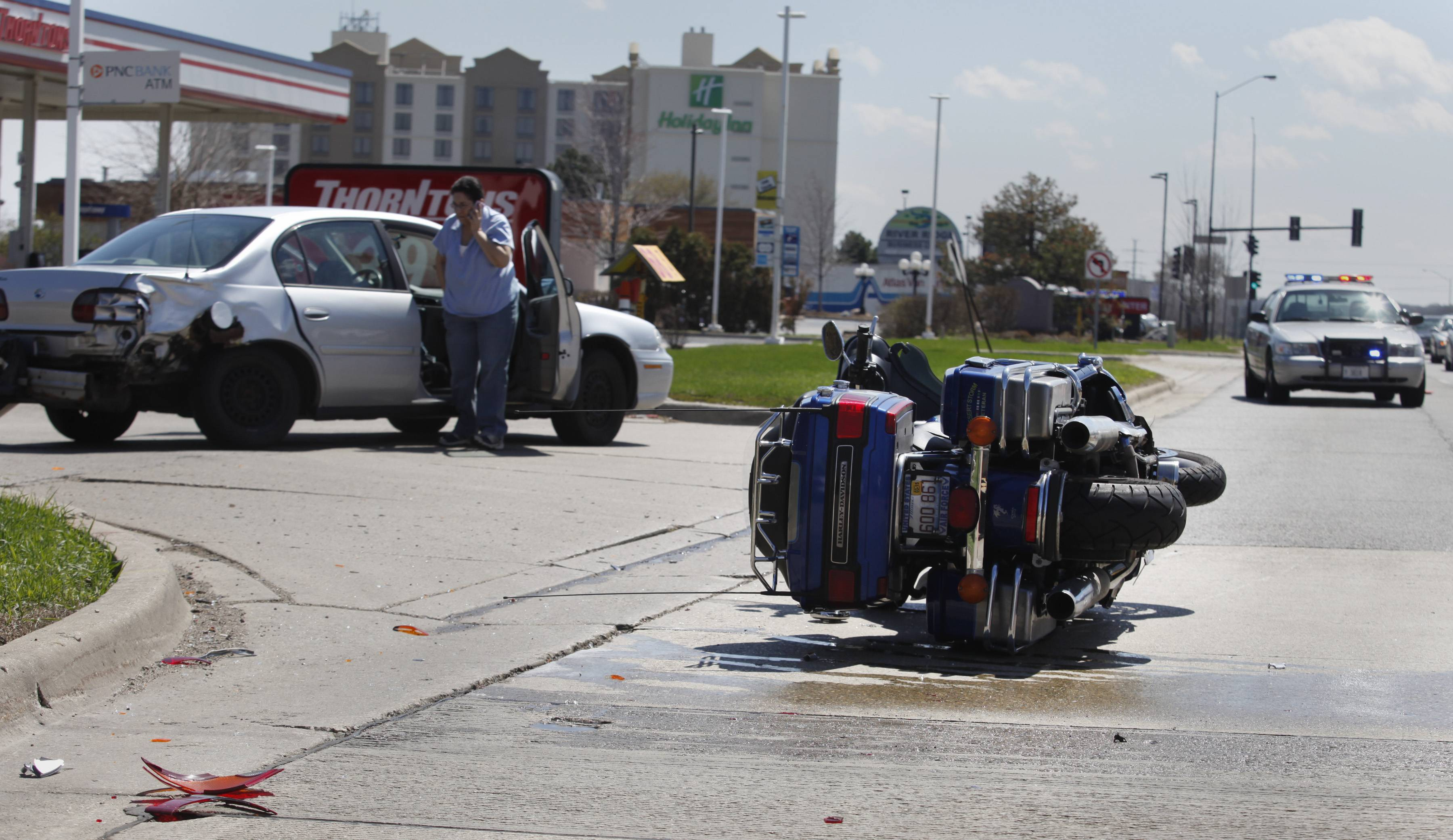 A 53-year-old Elgin man was injured Friday afternoon in West Dundee after a southbound car turning left from Route 31 onto Marriott Drive hit the man's motorcycle, police said. The car's driver was cited. The man was taken to Advocate Sherman Hospital in Elgin.