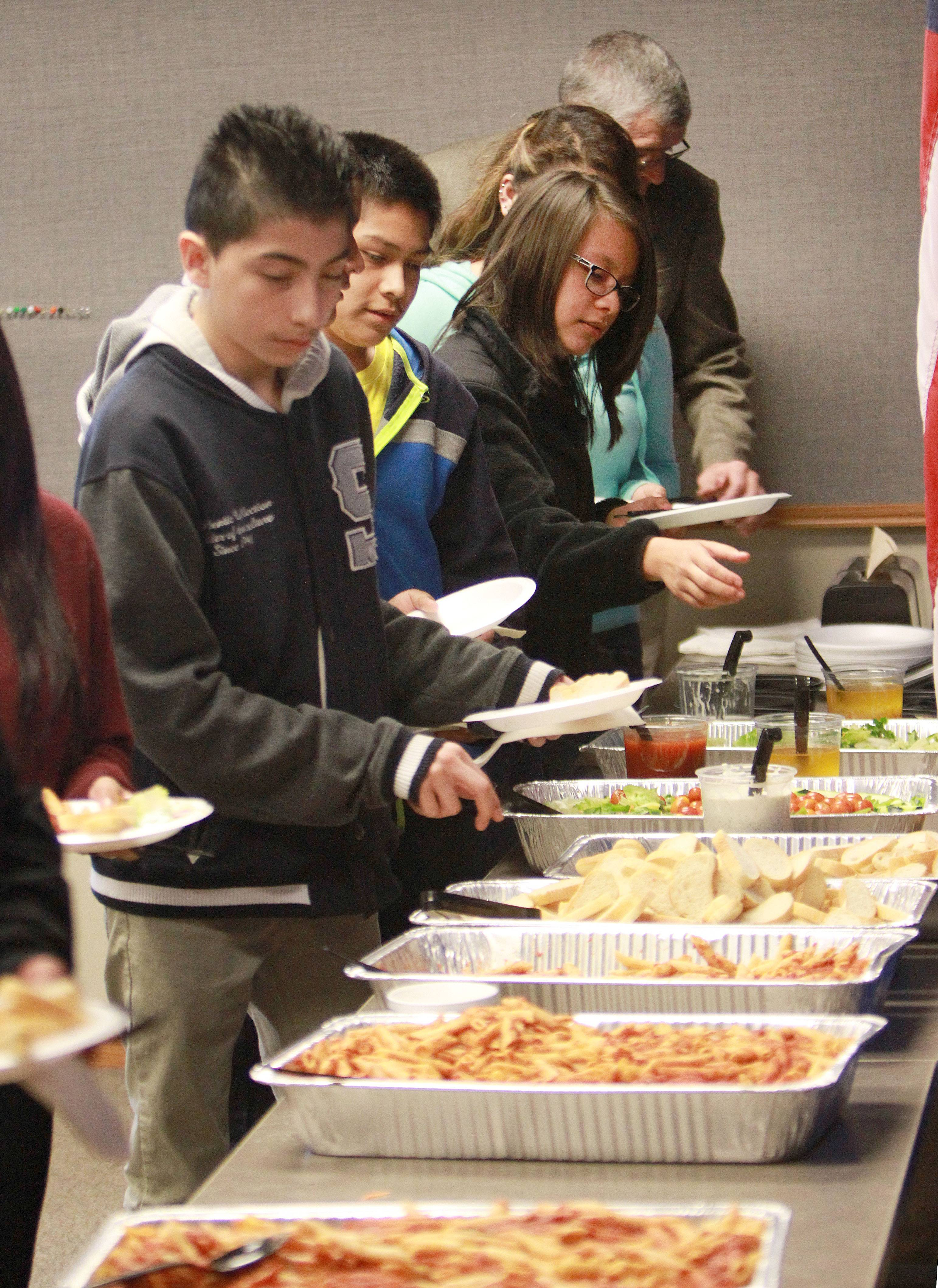 Eighth-graders from Carl Sandburg, Fremont and West Oak middle schools attend a luncheon Friday at the Mundelein Police Department.