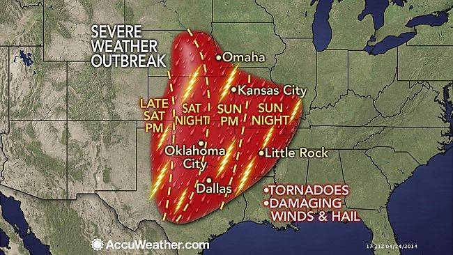 A dangerous multiple-day severe weather outbreak will begin this weekend over the South Central states and will include the potential for nighttime tornadoes in parts of Texas, Oklahoma, Kansas and Nebraska.
