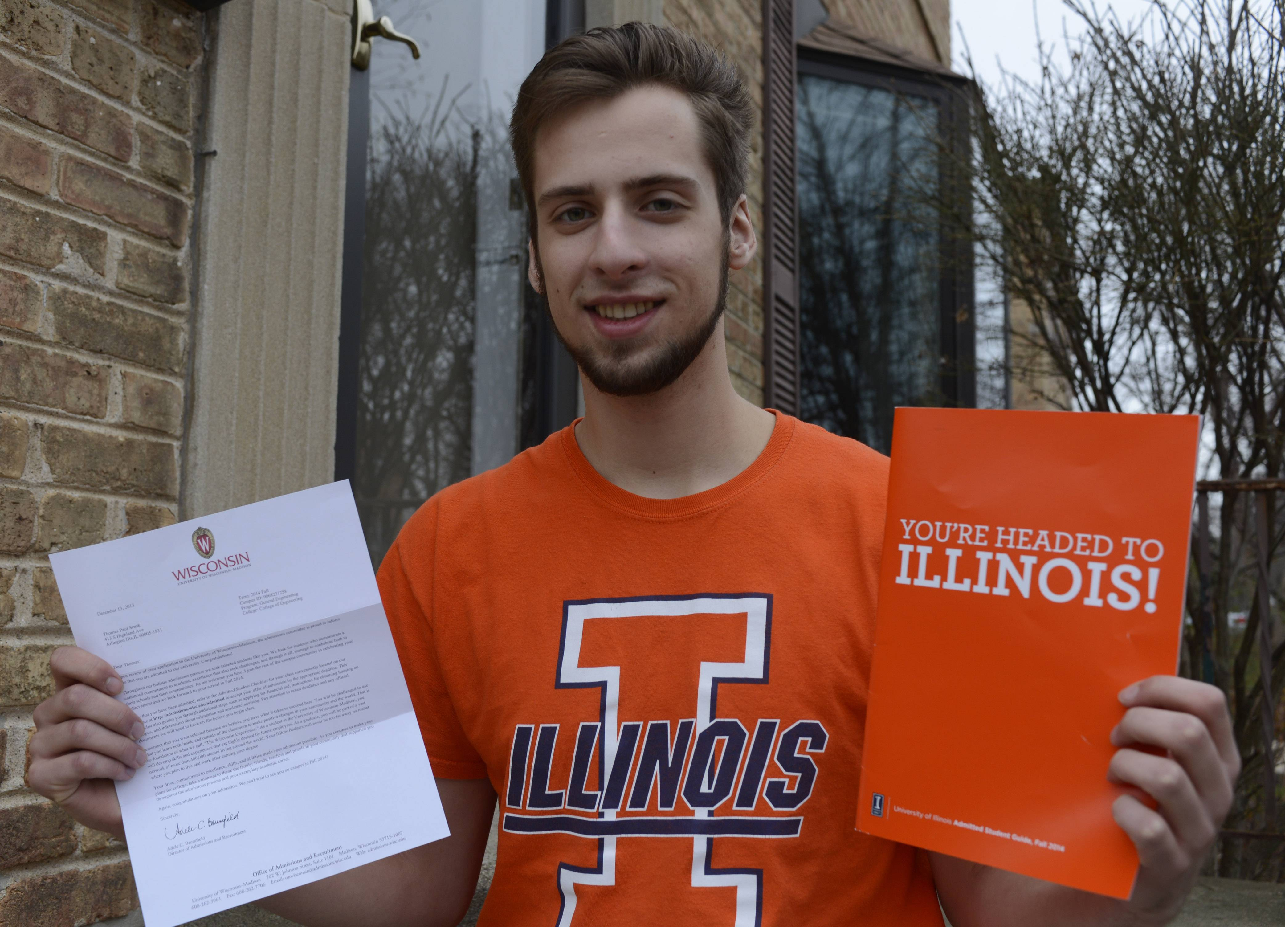 The University of Illinois' better financial aid offer led Tom Srnak of Arlington Heights to choose it over the University of Wisconsin-Madison, whose letter is at left and where he'd always expected to attend.