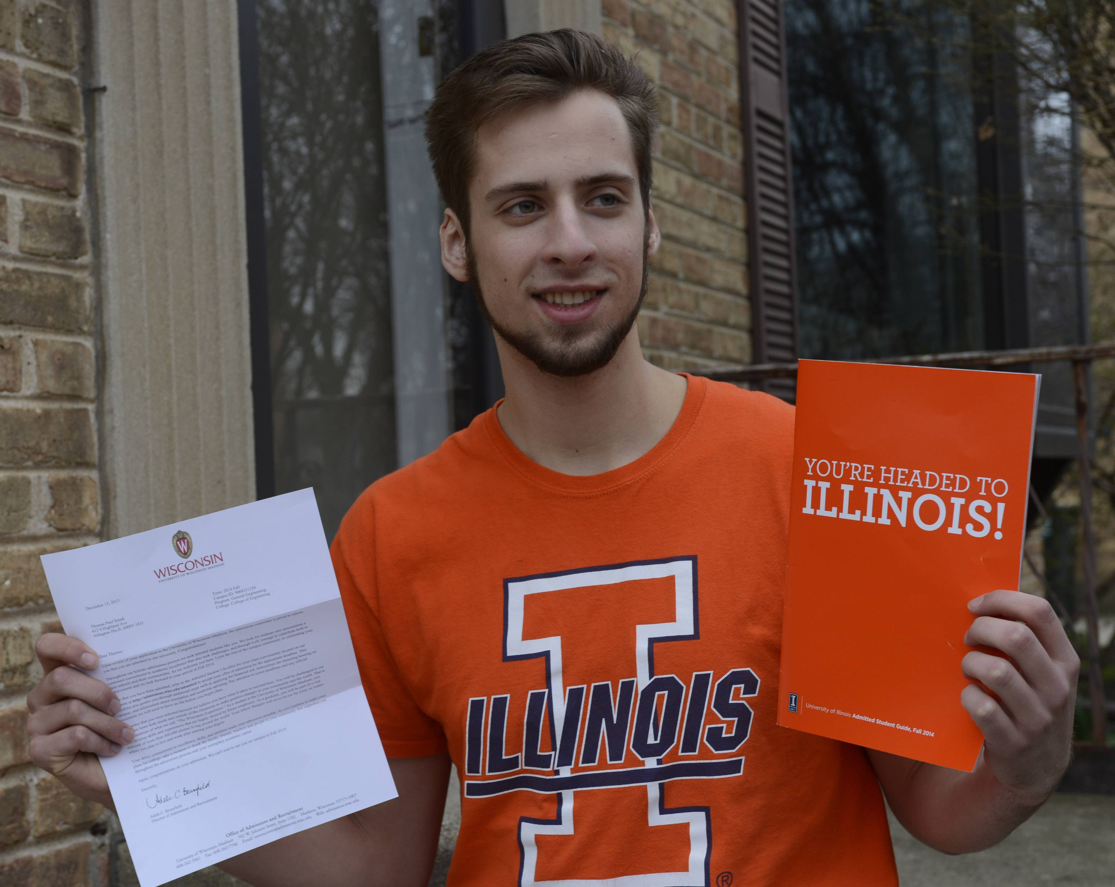 The University of Illinois' better financial aid offer led Tom Srnak of Arlington Heights to choose it over the University of Wisconsin-Madison, the college he'd always expected to attend.