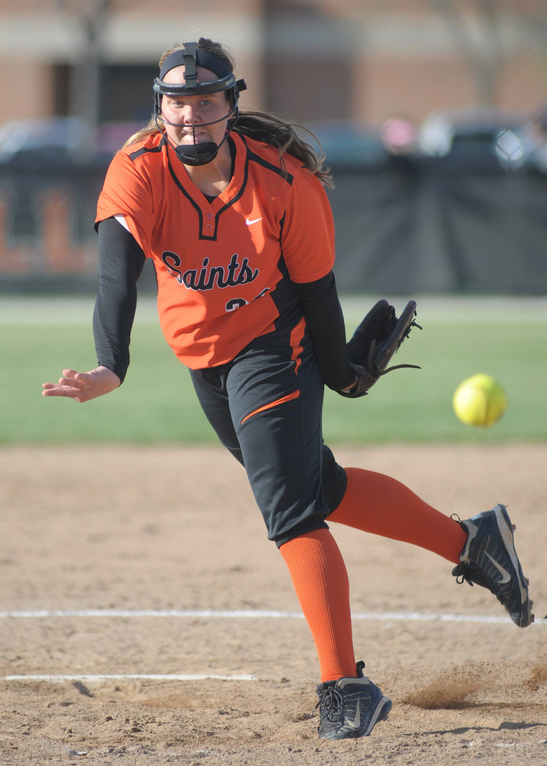 St. Charles East's Haley Beno pitches to Lyons in the fourth inning on Friday, April 25.