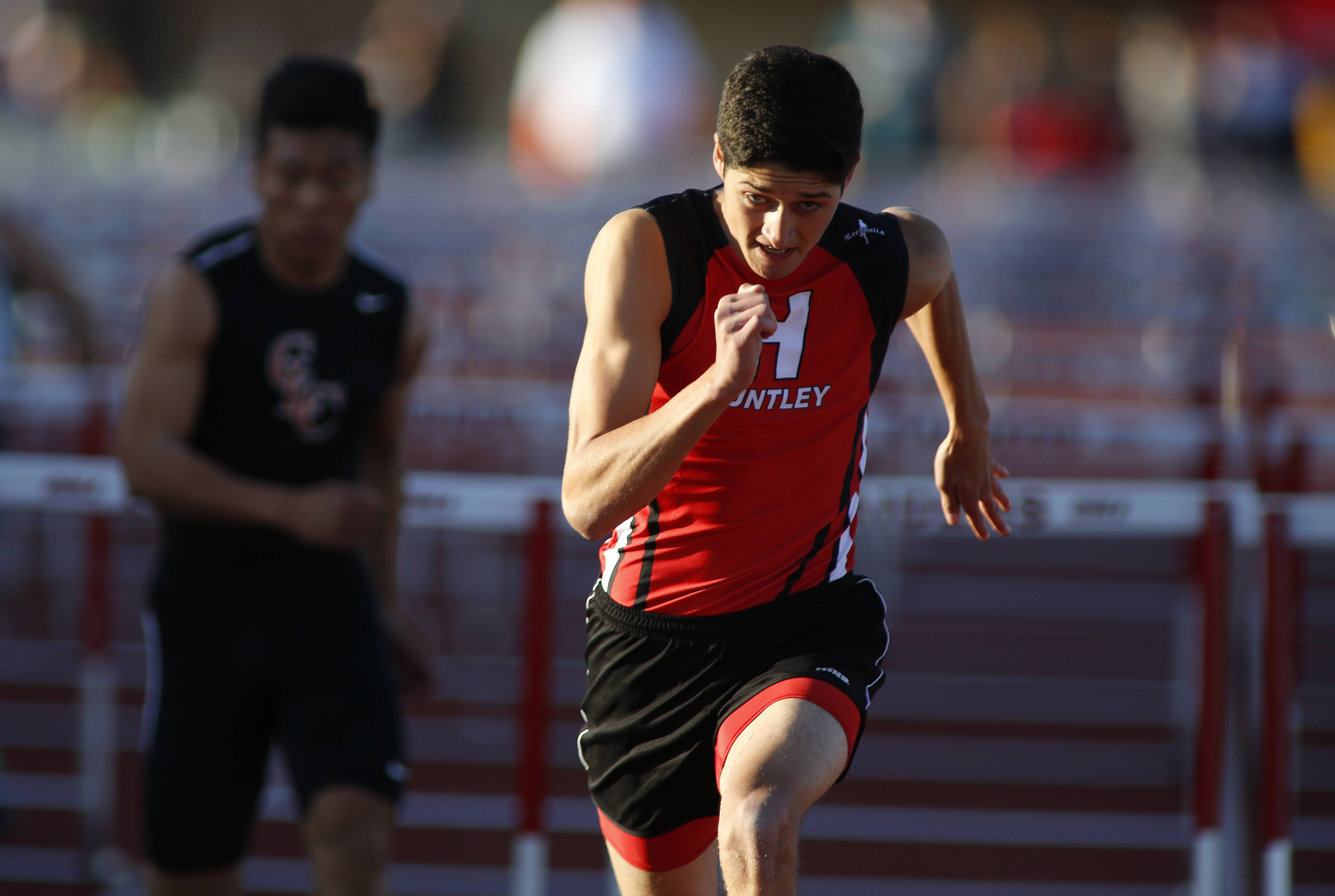 Huntley's Brennan Bell heads to first place in the 110-meter hurdles during the McHenry County Track and Field Championships Friday in Huntley.