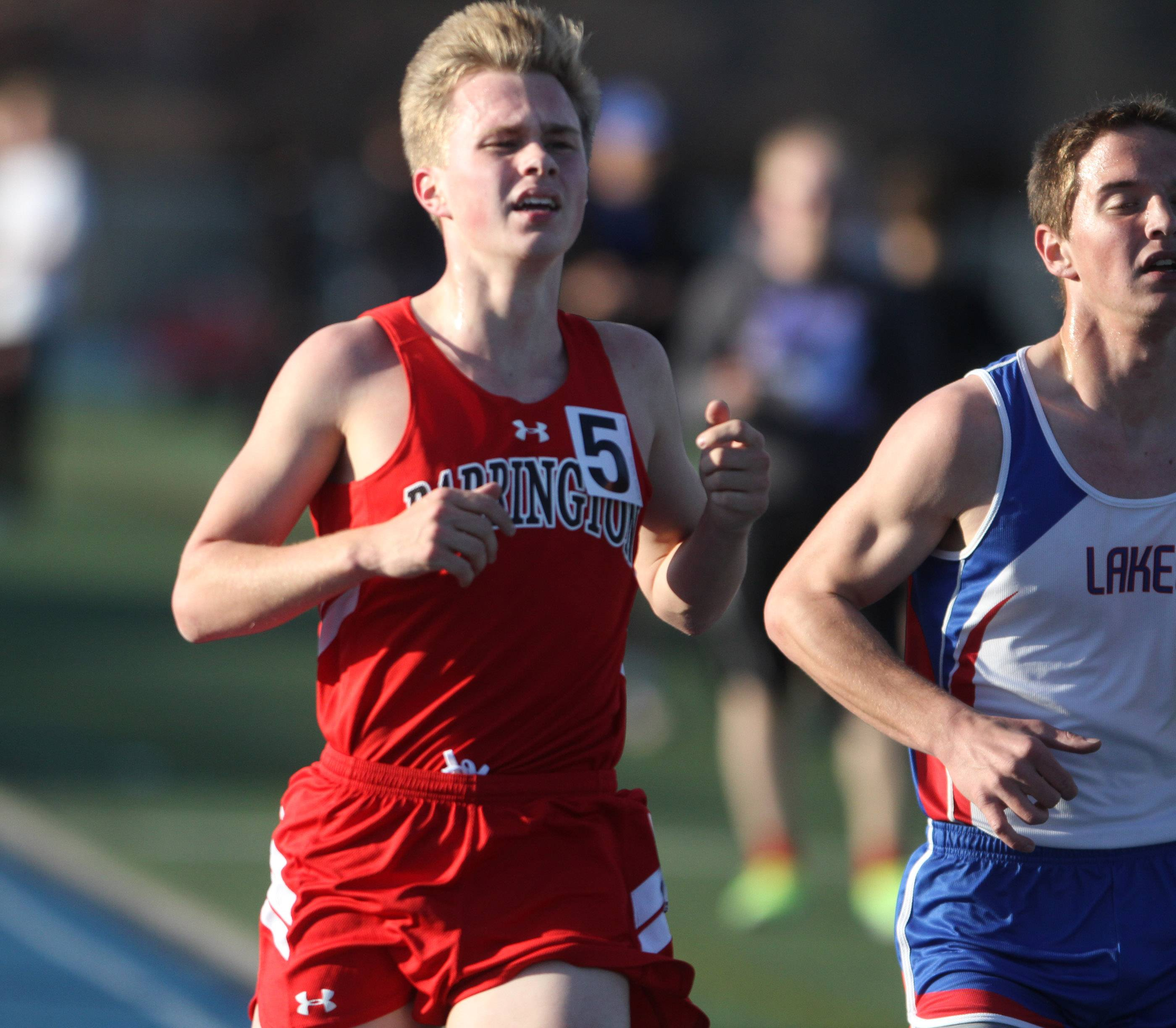 Barrington's Jake Herb placed second in the 3,200-meter run at the Lake Zurich boys track invite on Friday.