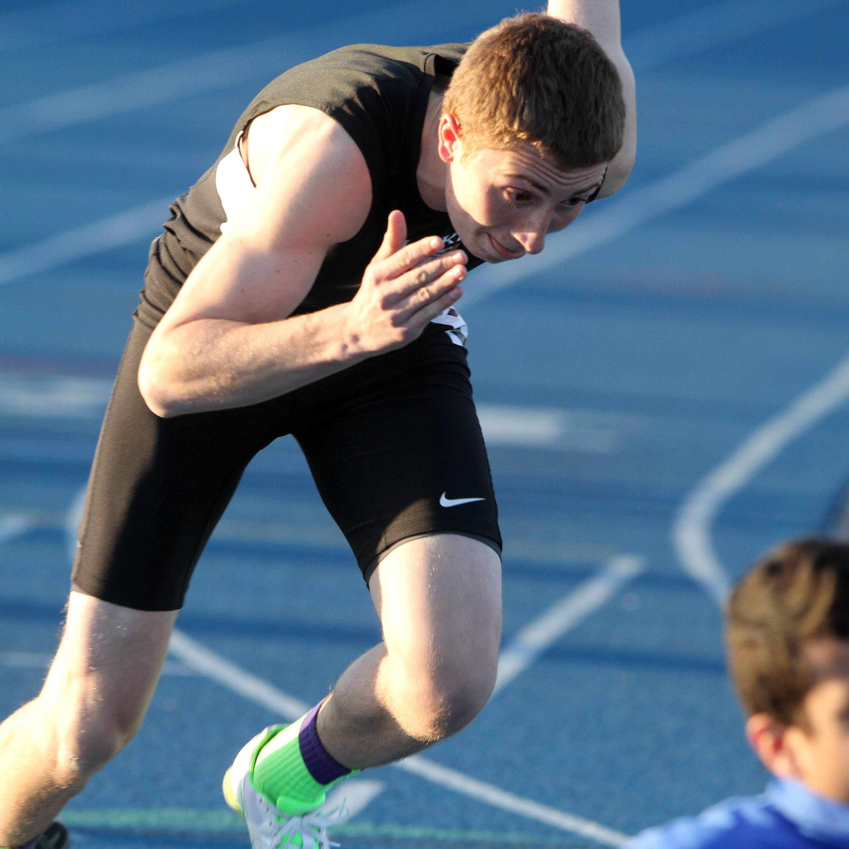 Lakes' Robert Kuhlman starts the 400-meter run at the Lake Zurich boys track invite on Friday.