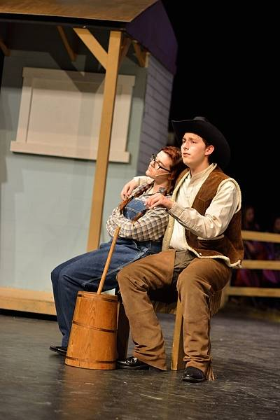 "Abby Shepherd as Laurey and Wesley Skym as Curly dream about ""The Surrey With The Fringe On Top"" in this rehearsal photo from the Antioch Community High School production of ""Oklahoma"", being performed from April 24th - 27th. Wanda Teddy"