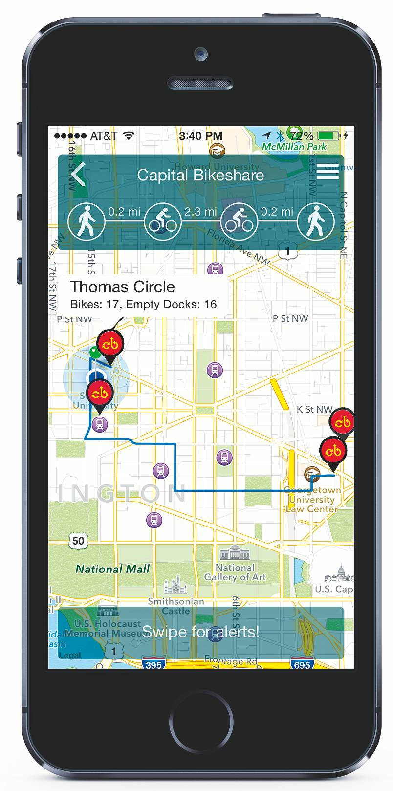 The app RideScout helps you find the quickest route to your destination.