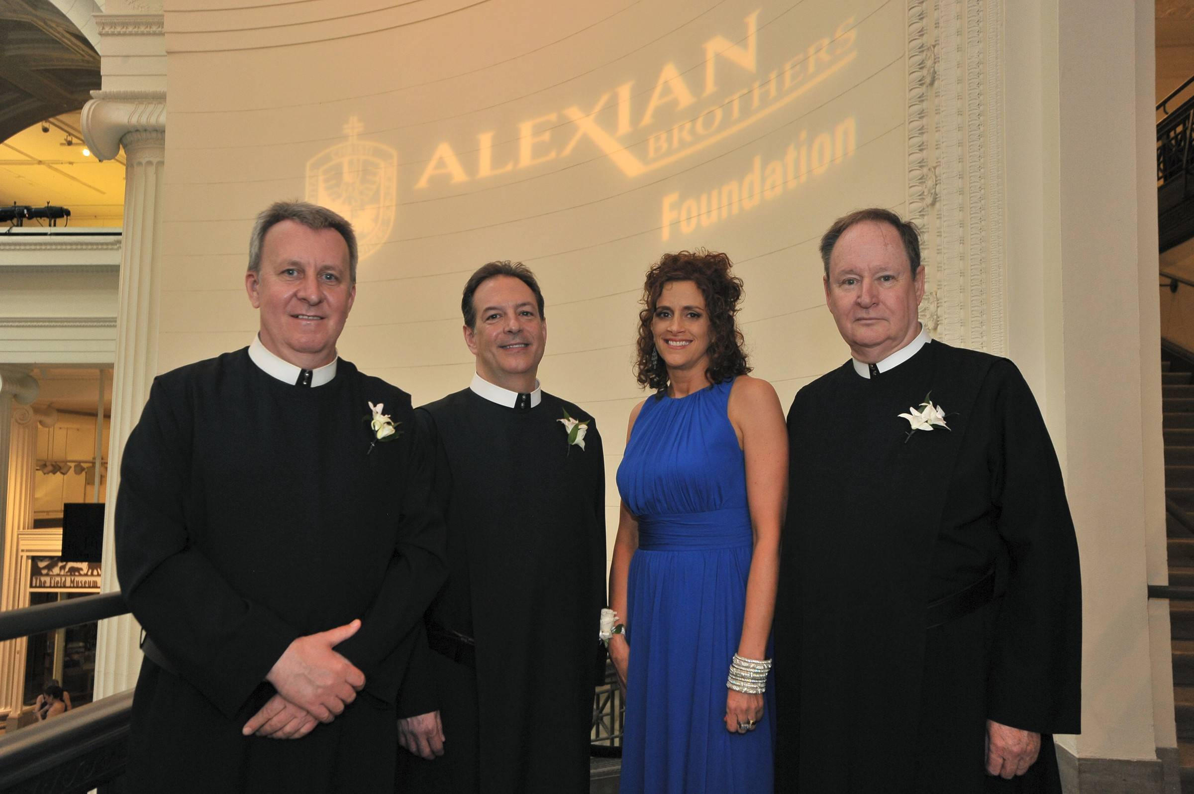 Alexian Brother Paul Magner CFA, Alexian Brothers Tom Klein CFA, Melanie Furlan, vice rresident, advancement, Alexian Brothers Foundation, and Brother Daniel McCormick, CFS Provincial, Alexian Brothers Immaculate Conception Province at the 28th Annual Alexian Brothers Ball de Fleur on Saturday at the Field Museum.