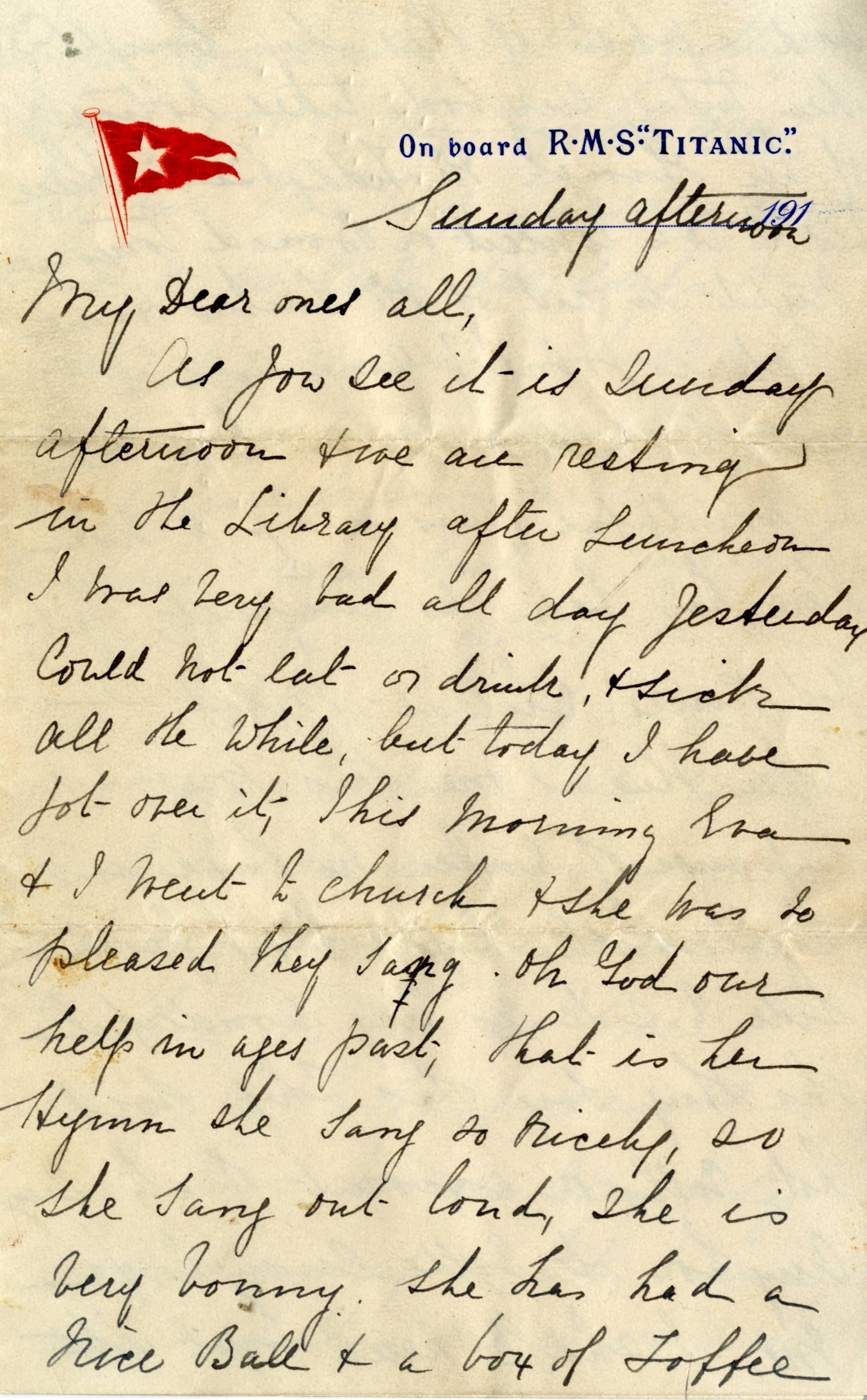 In this undated image released by Henry Aldridge And Son Autioneers, Saturday April 26, 2014, showing part of a letter written by Esther Hart and her seven-year-old daughter Eva as they sailed aboard RMS Titanic in April 1912, shortly before the ship struck an iceberg and sank in the North Atlantic Ocean with 15,00 souls.