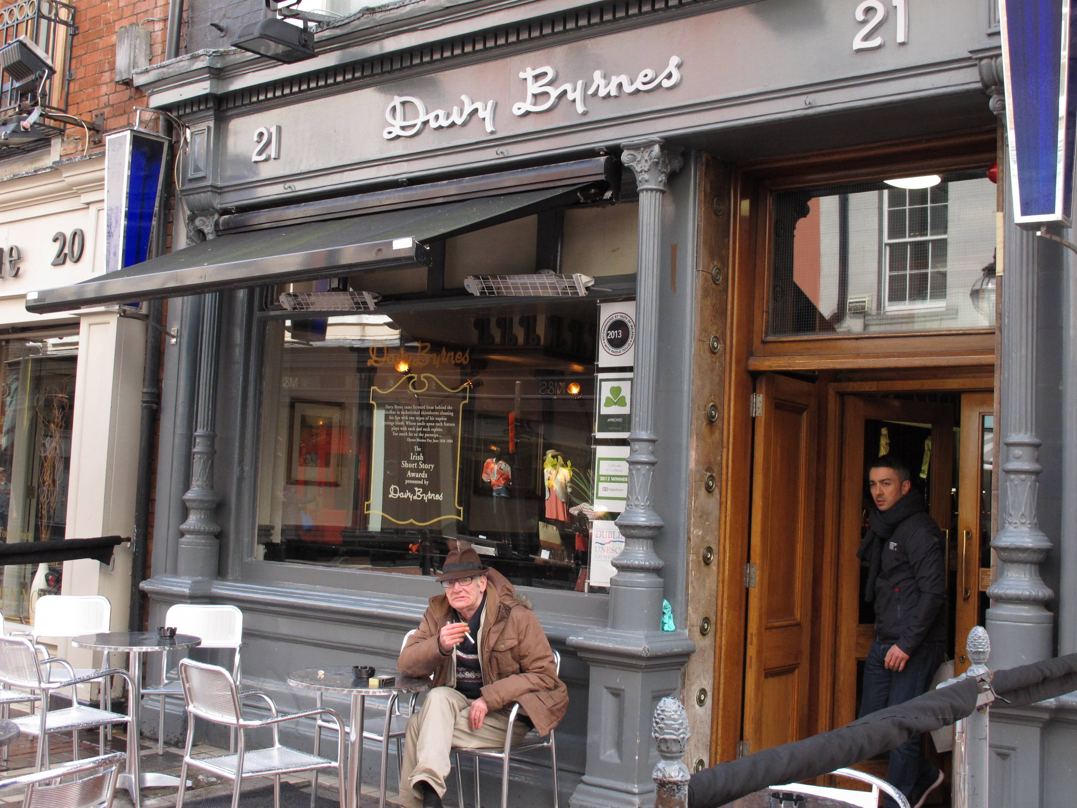"Davy Byrne's pub in Dublin was famously mentioned in James Joyces' ""Ulysses"" when the protagonist of the novel, Leopold Bloom, ate lunch there. Every year on Bloomsday (June 16), Joyce lovers descend on the pub for that famous literary lunch: a Gorgonzola sandwich and a glass of Burgundy."