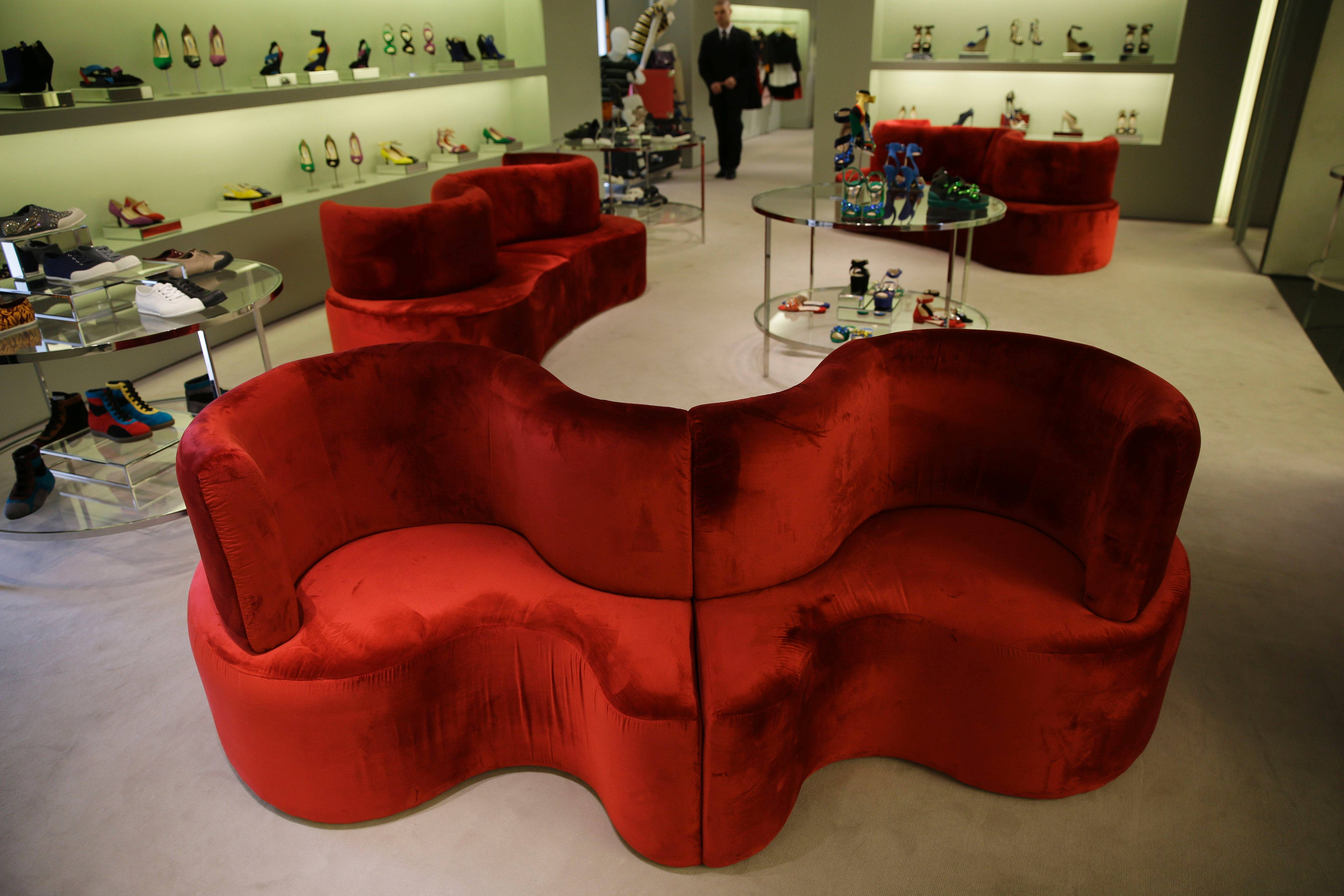 Prada CloverLeaf Sofa is displayed at the fair. Fashion designers like Prada are increasingly expanding into home and furniture lines to complete their brands.