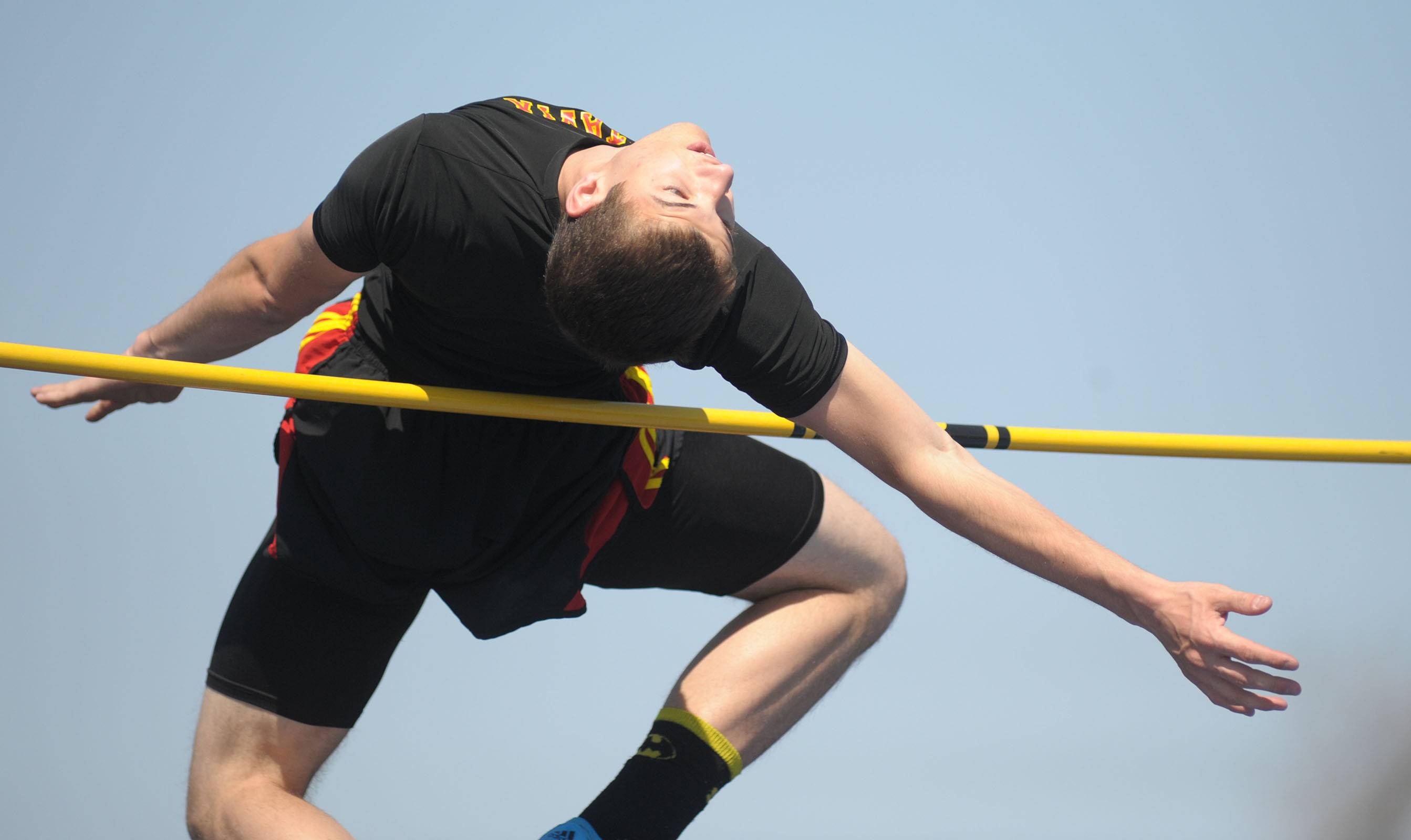 Batavia's Mark Rudelich in the high jump finals at Kaneland's Peterson Prep Invitational on Saturday, April 26.