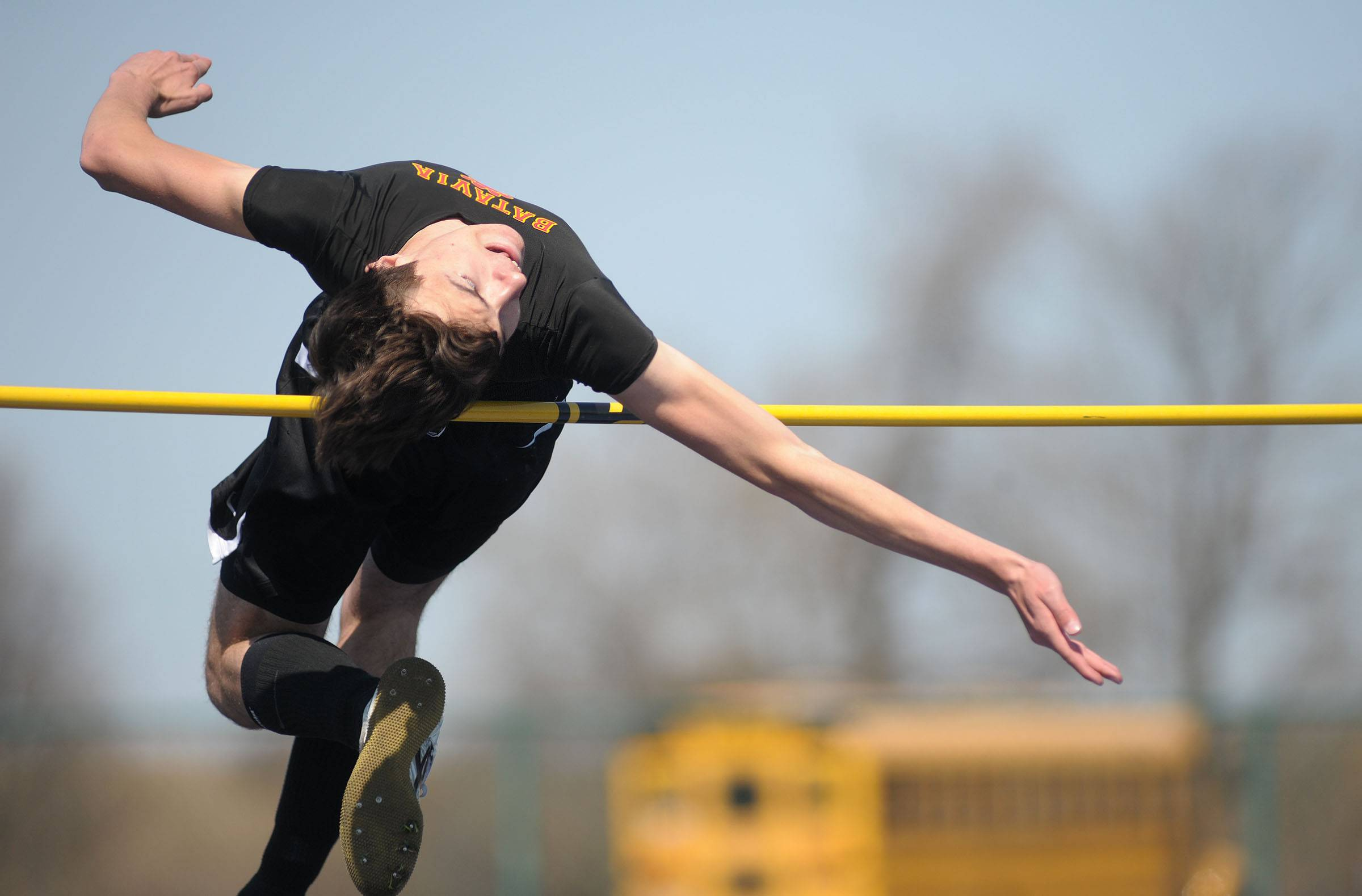 Batavia's Mark Majka in the high jump finals at Kaneland's Peterson Prep Invitational on Saturday, April 26.