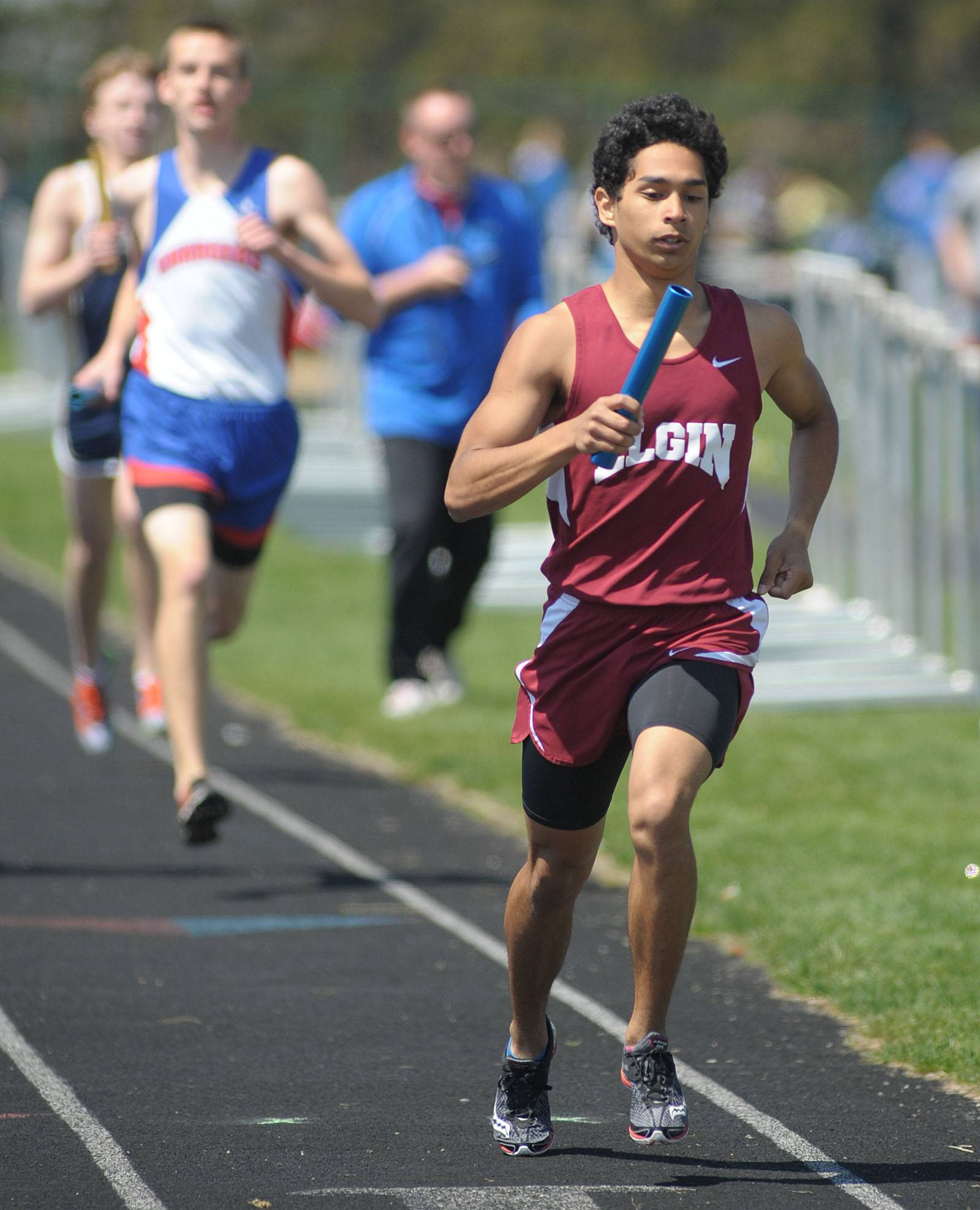 Elgin's Emilio Mancha in the 4 x 800 meter relay at Kaneland's Peterson Prep Invitational on Saturday, April 26.