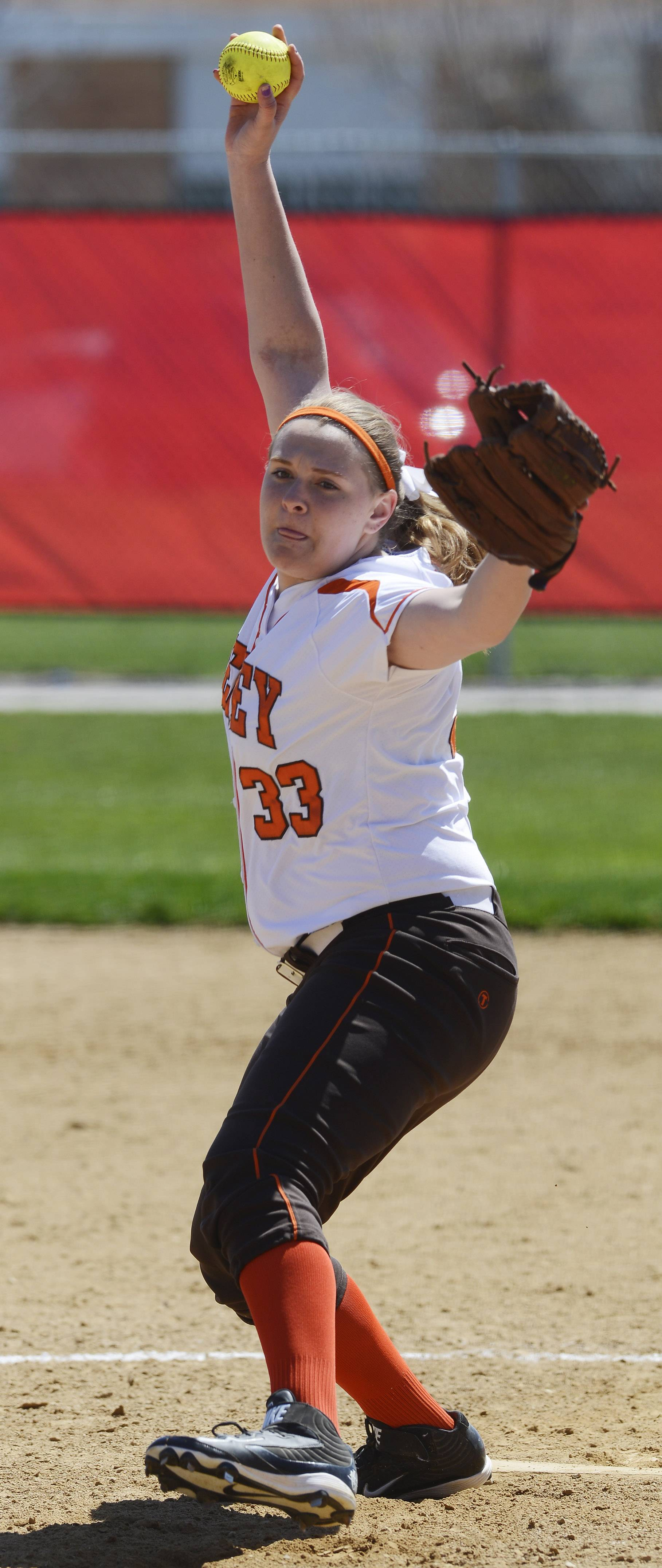 Hersey's Kim Labahn delivers a pitch during Saturday's game at Mundelein.