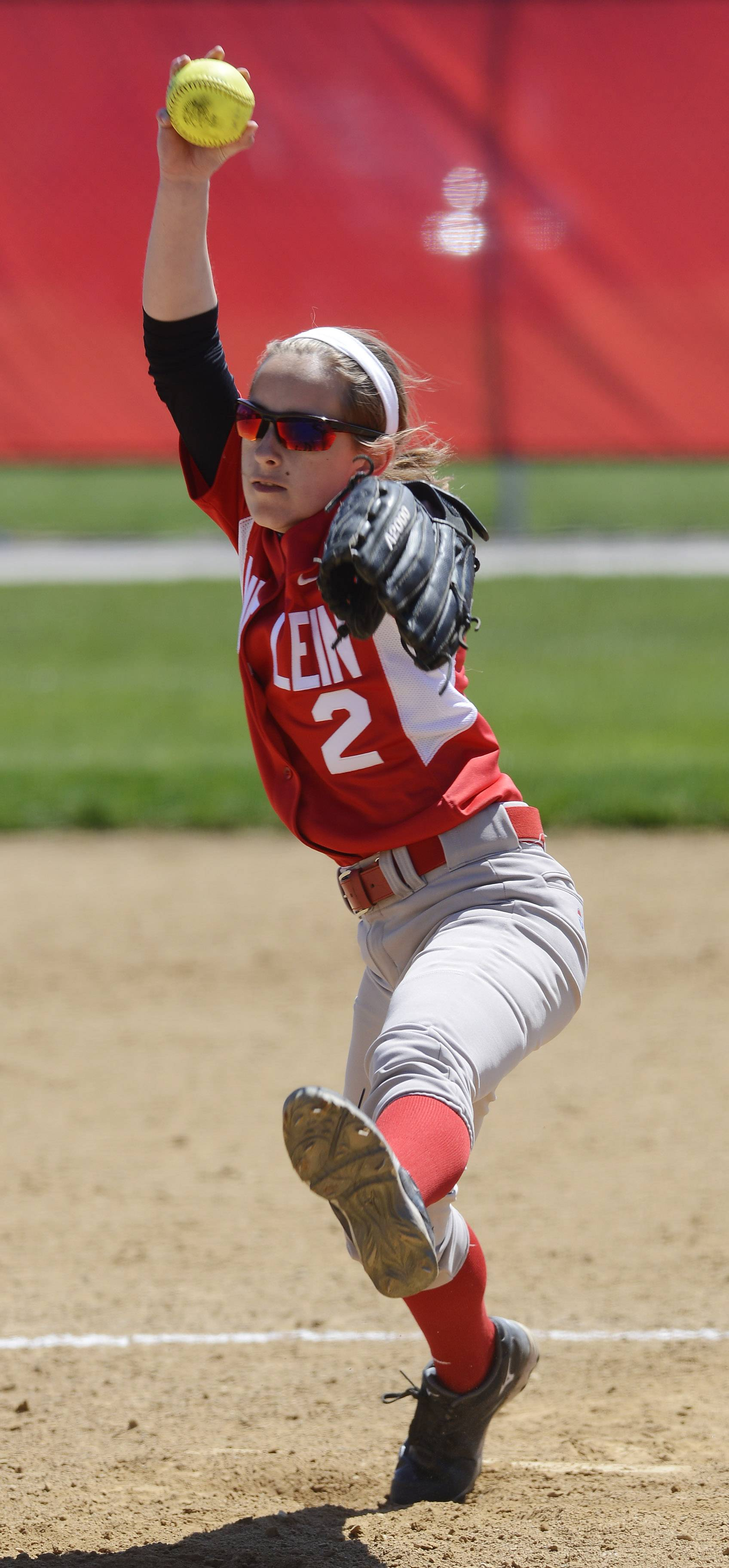 Mundelein pitcher Nicole Parney delivers against Hersey during Saturday's game at Mundelein.