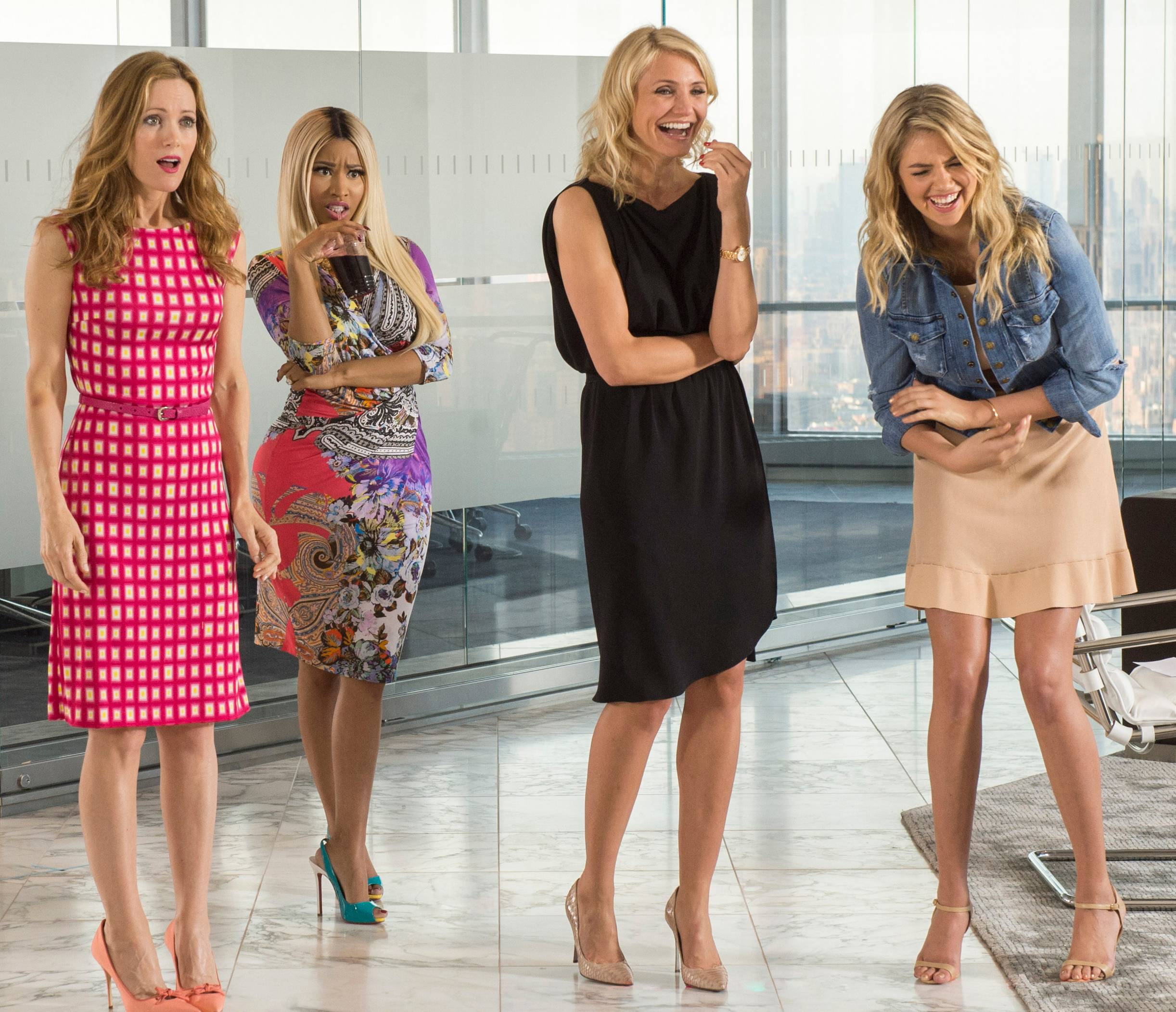 "This image released by 20th Century Fox shows Leslie Mann, from left, Nicki Minaj, Cameron Diaz and Kate Upton in a scene from ""The Other Woman."""
