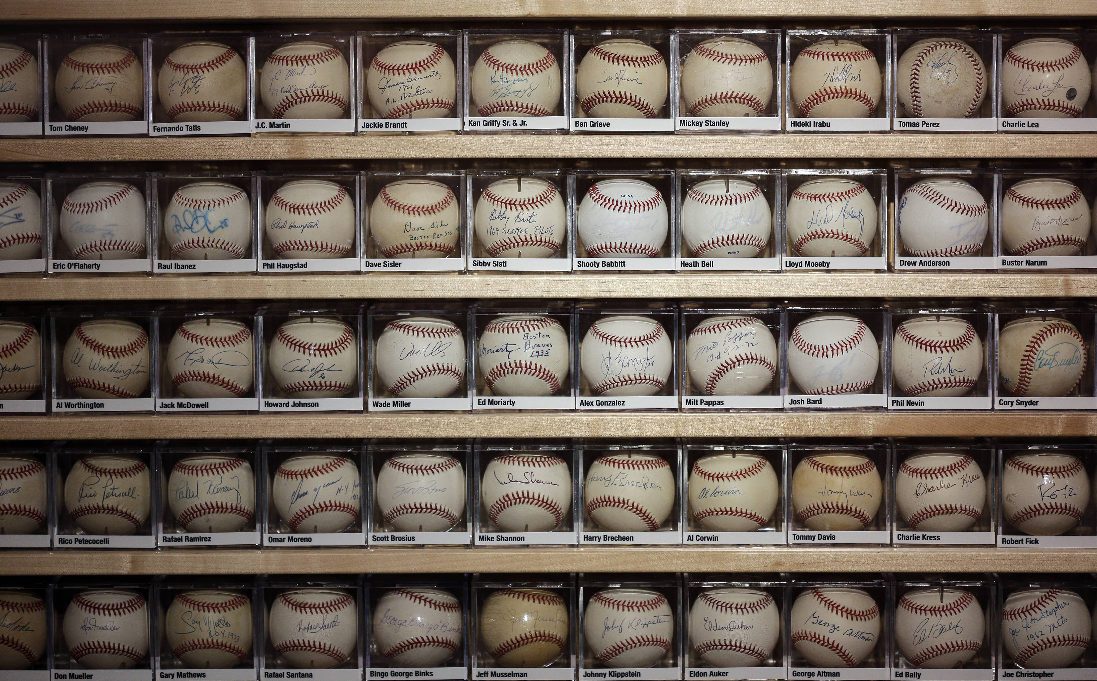 View a collection of autographed baseballs at the St. Petersburg History Museum in St. Petersburg, Fla.