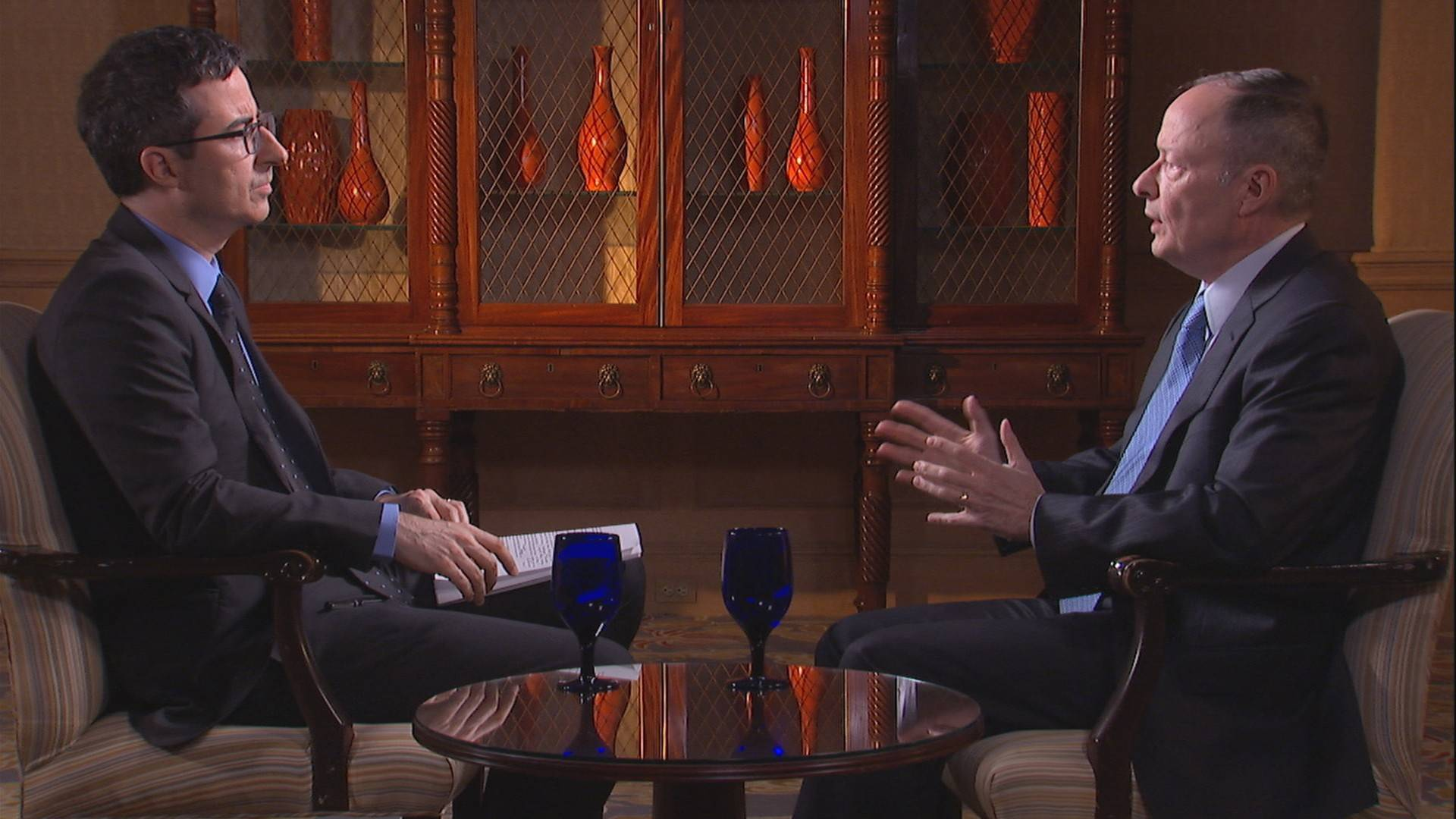 "John Oliver interviews Keith Alexander on his new HBO show ""Last Week Tonight."""