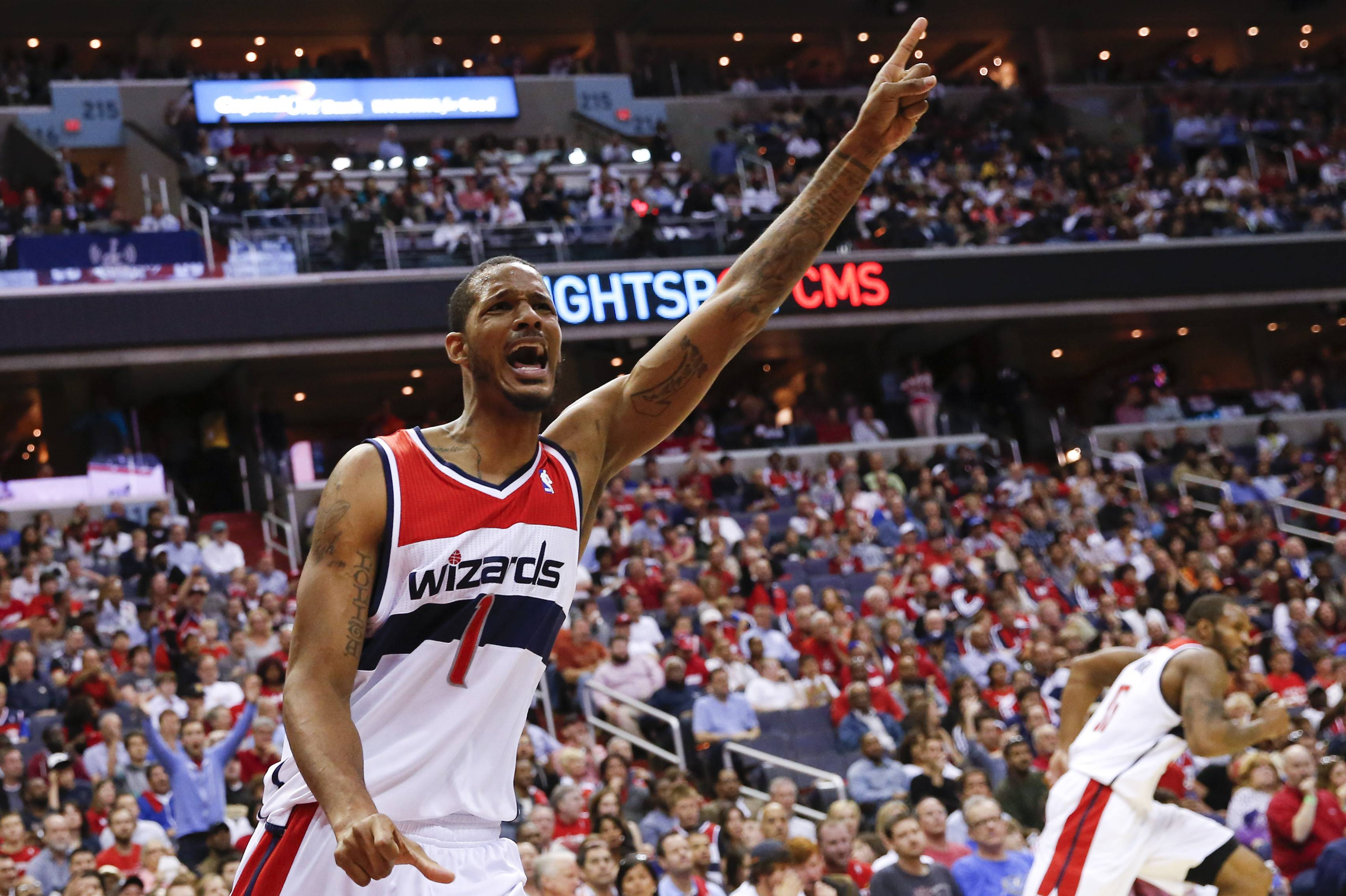Washington Wizards forward Trevor Ariza (1) reacts to play during the second half.
